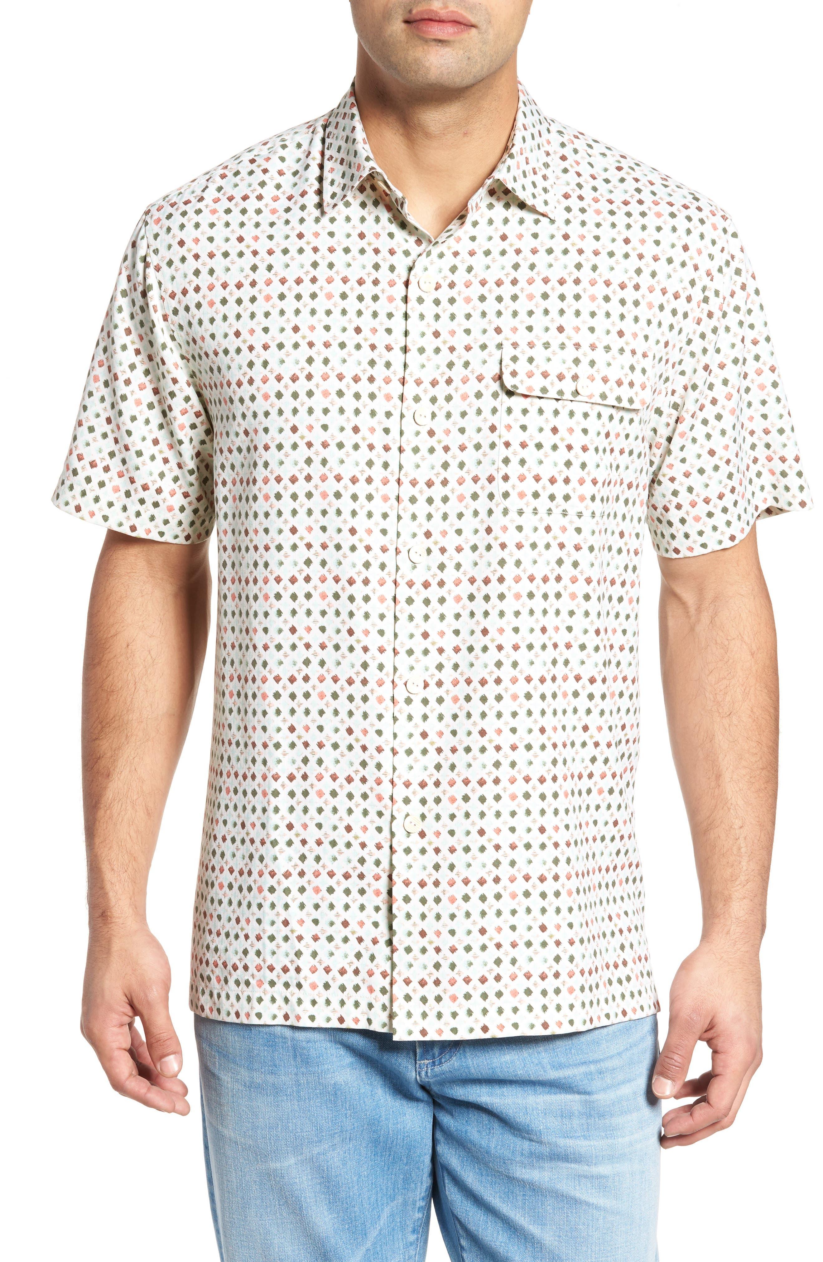 Atomic Geo Print Silk Sport Shirt,                         Main,                         color, COCONUT CREAM