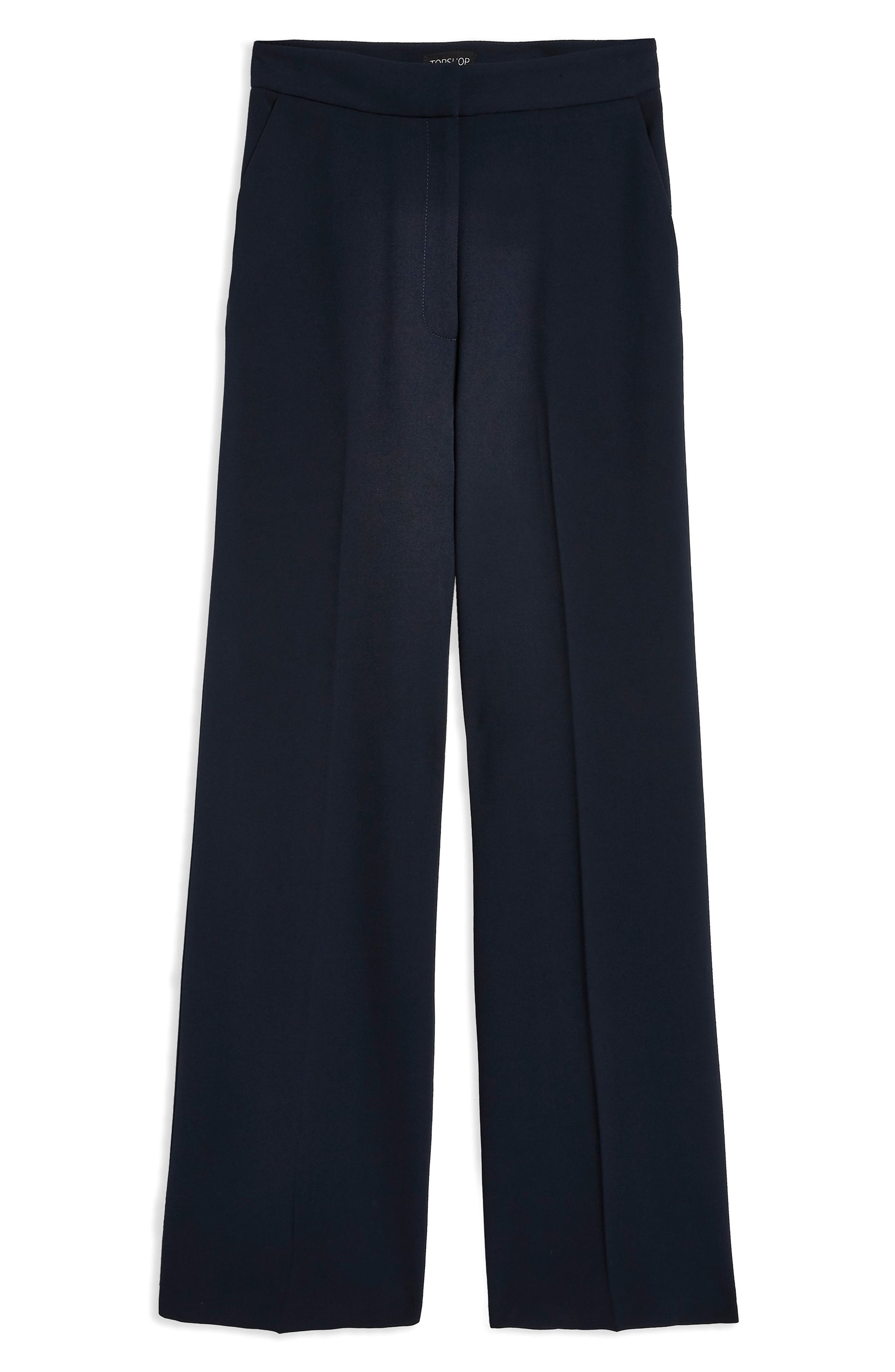 Clean High-Waist Wide Leg Trousers,                             Alternate thumbnail 6, color,                             NAVY BLUE