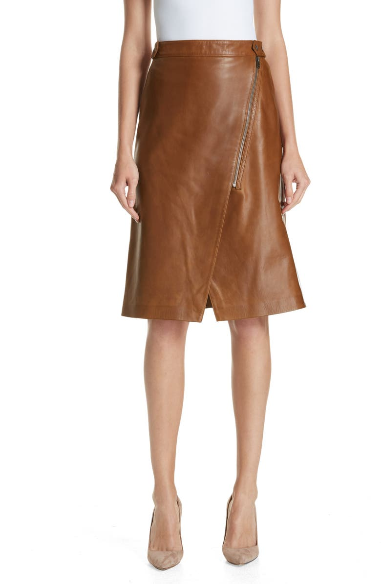 Faux Wrap Leather Skirt,                         Main,                         color, RUST BISQUE