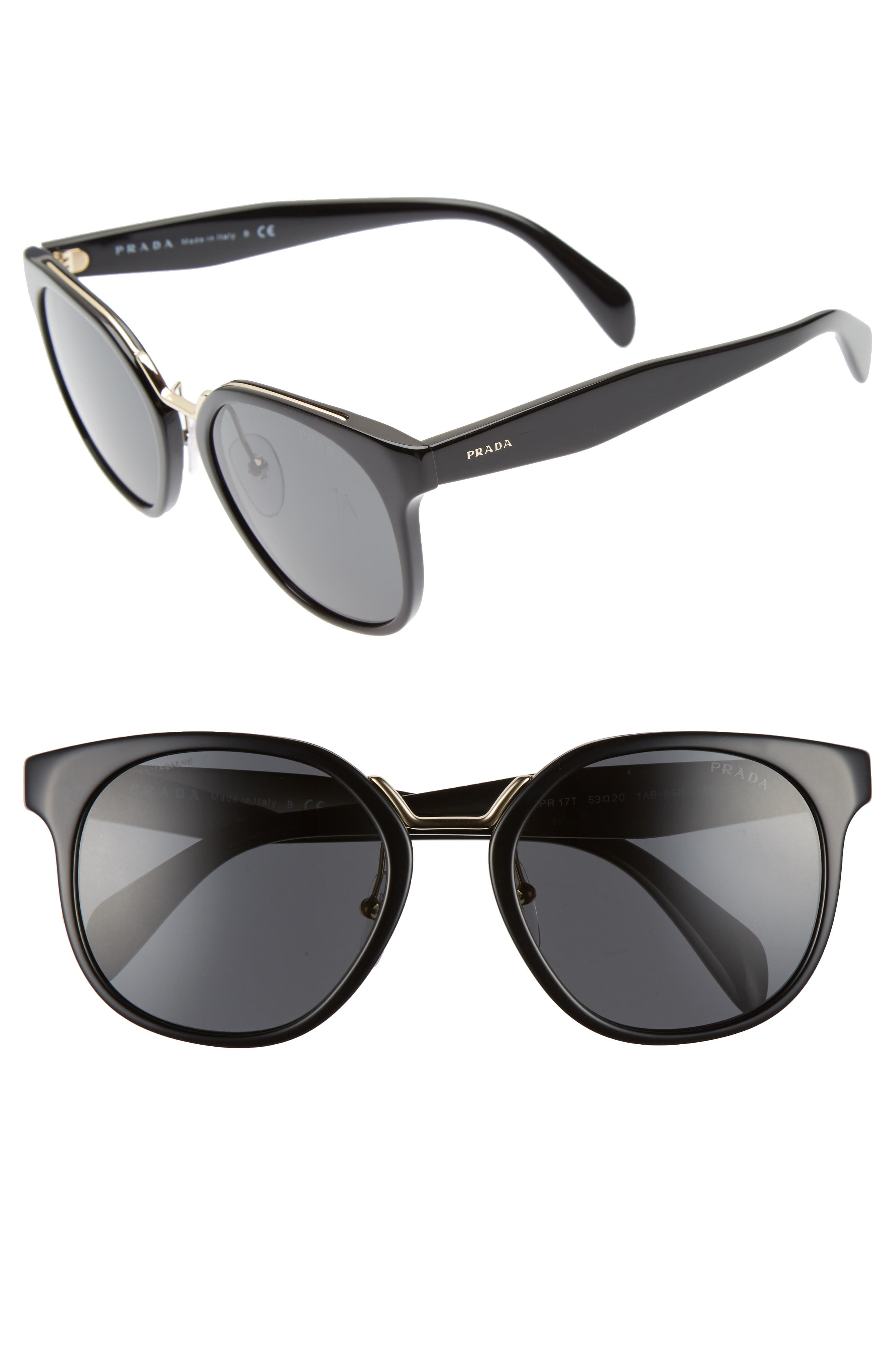 53mm Horn-Rimmed Sunglasses,                             Main thumbnail 1, color,                             020