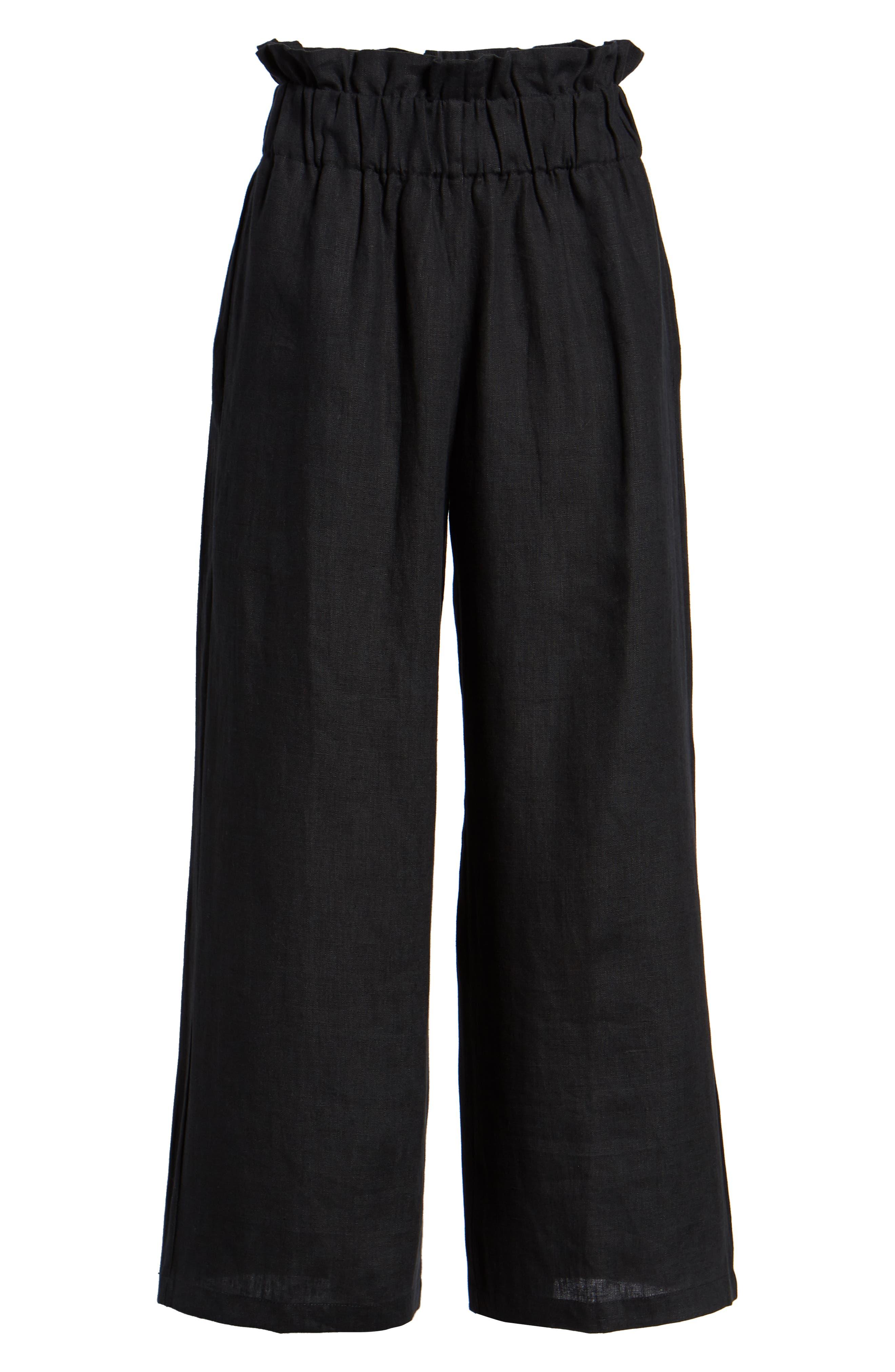 Varadero High Waist Linen Pants,                             Alternate thumbnail 7, color,                             001