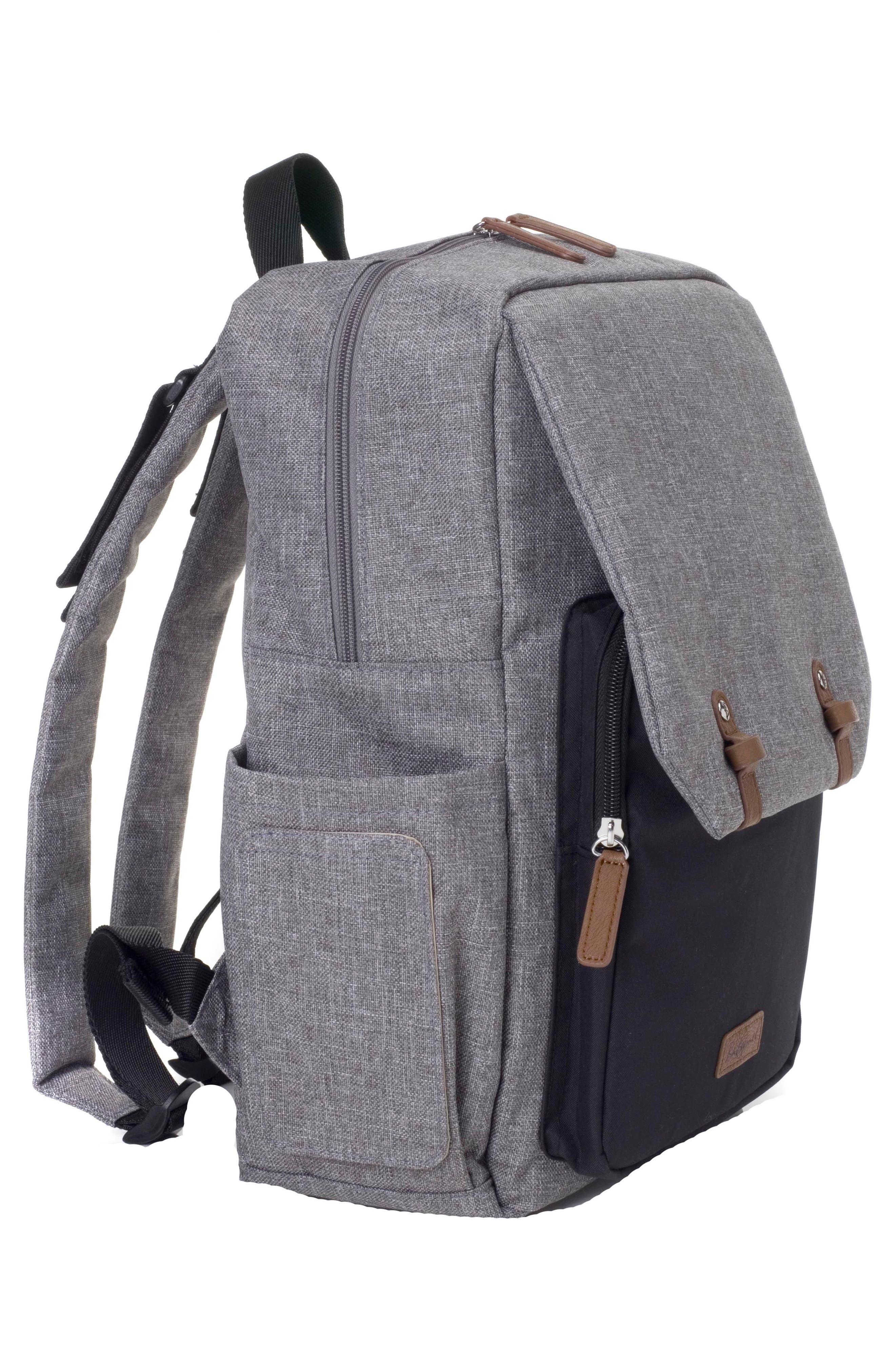 George Water Resistant Diaper Backpack,                             Alternate thumbnail 9, color,                             BLACK/ GREY