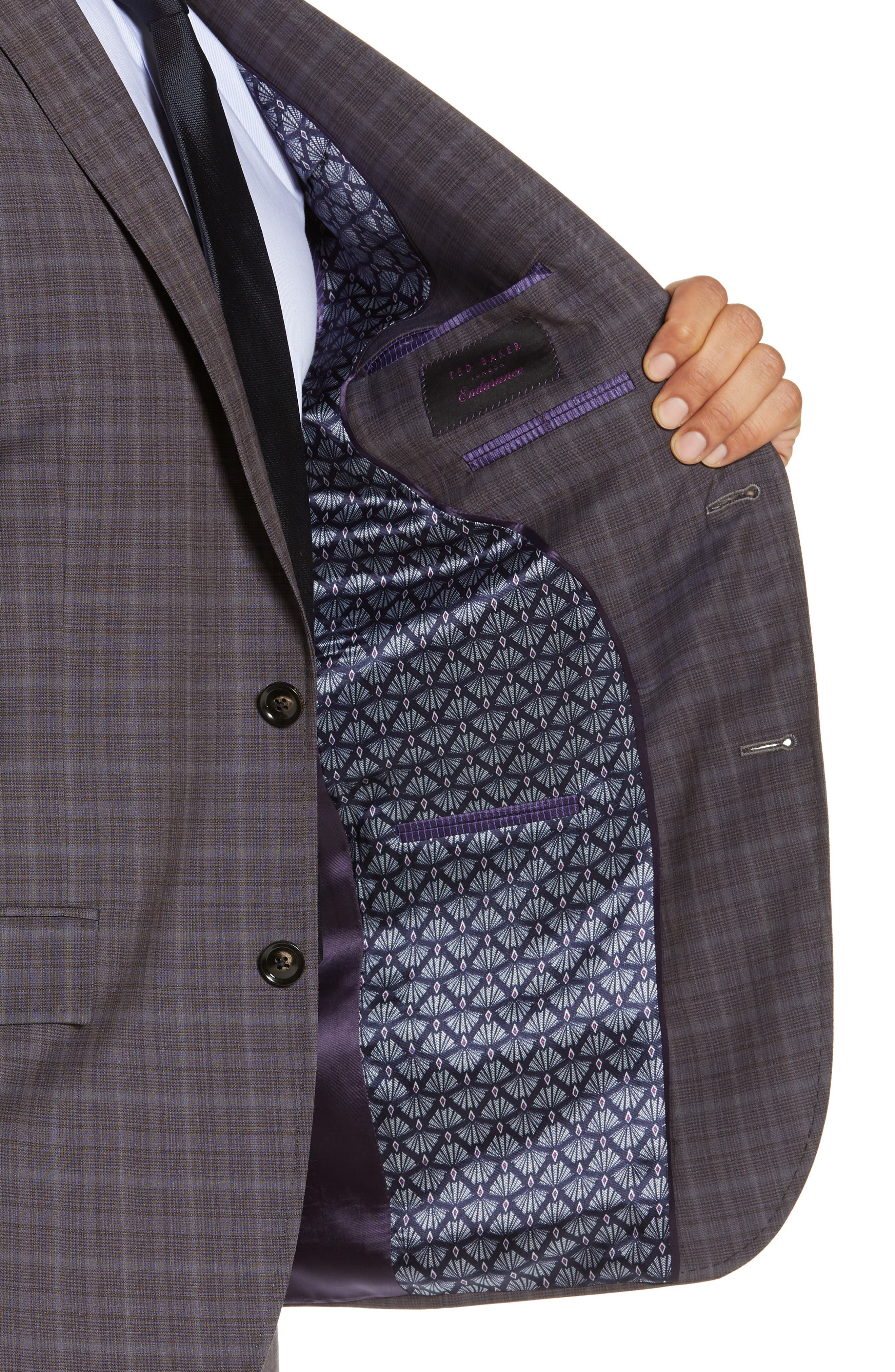 TED BAKER LONDON,                             Jay Trim Fit Plaid Wool Suit,                             Alternate thumbnail 4, color,                             TAUPE