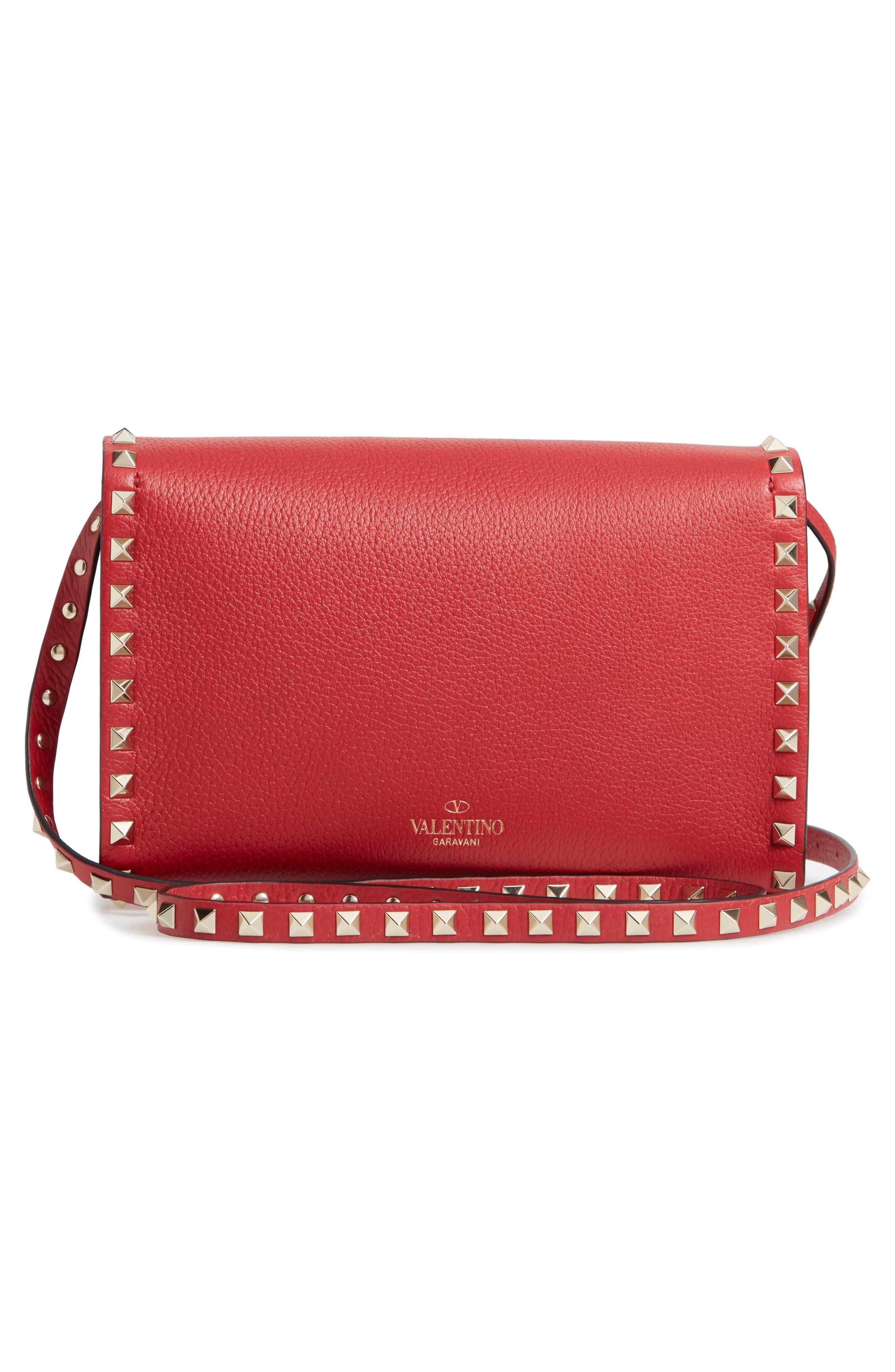 Medium Rockstud Leather Crossbody Bag,                             Alternate thumbnail 3, color,                             ROSSO V