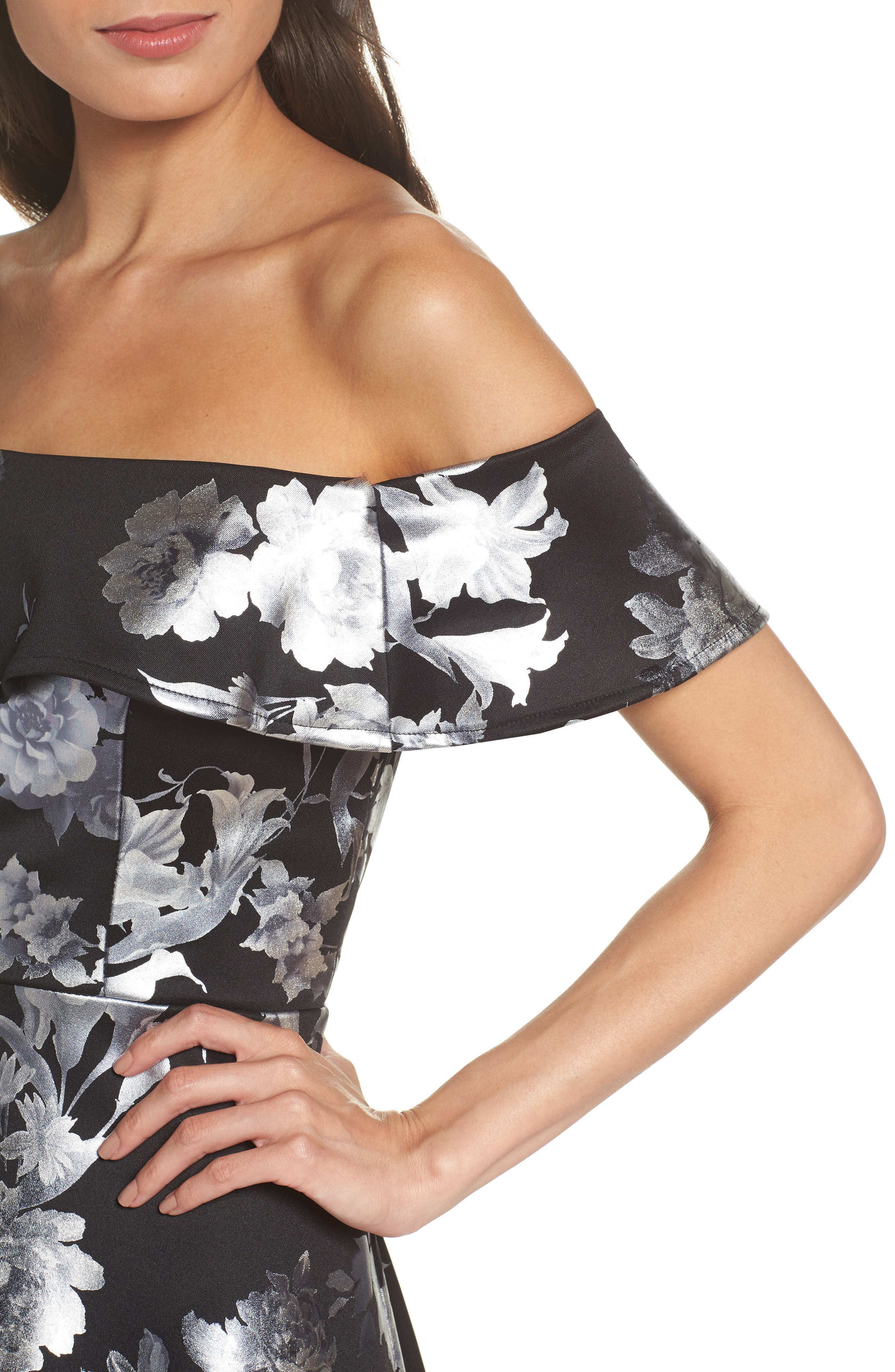 Off the Shoulder Foil Scuba Fit & Flare Dress,                             Alternate thumbnail 4, color,                             BLACK/ SILVER