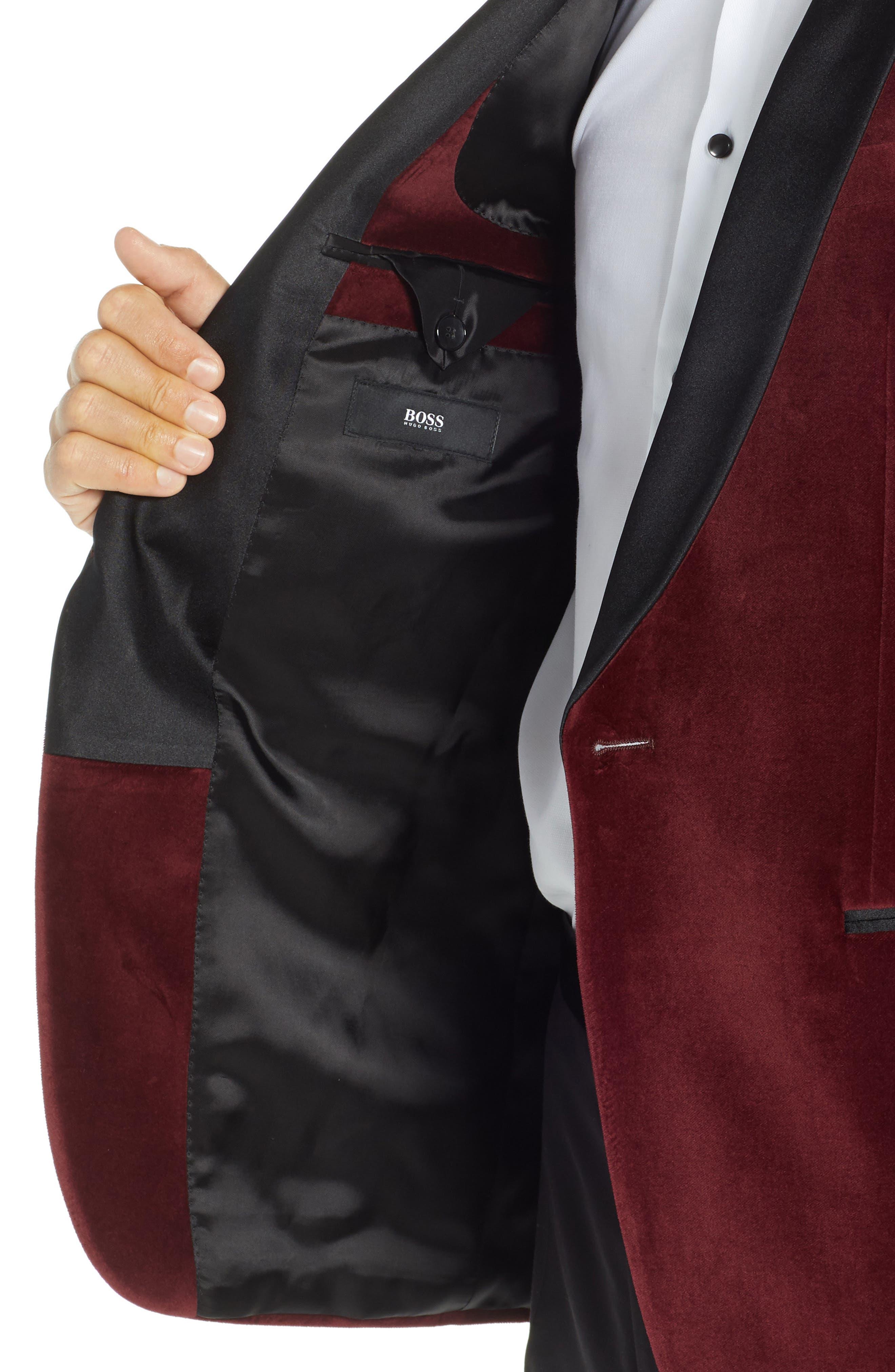 Hockley Slim Fit Velvet Cotton Dinner Jacket,                             Alternate thumbnail 4, color,                             DARK PURPLE