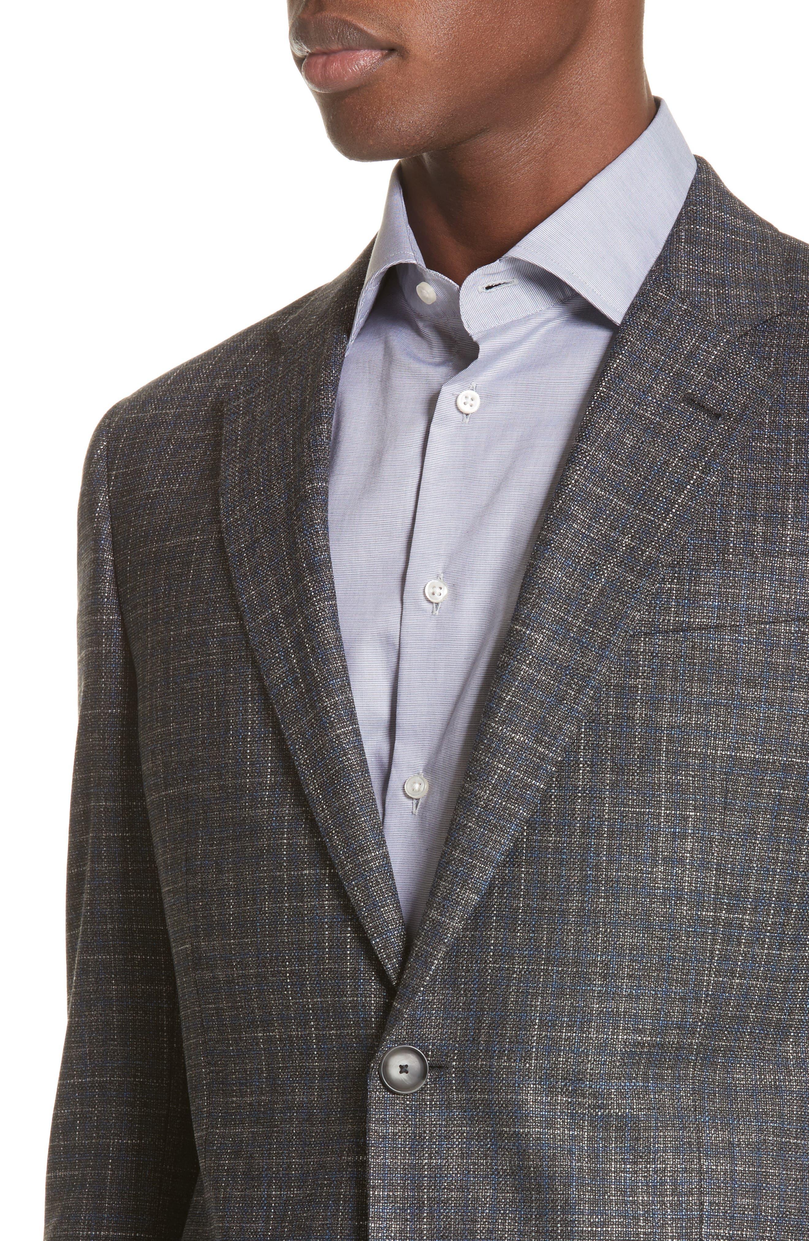 G-Line Trim Fit Check Sport Coat,                             Alternate thumbnail 4, color,