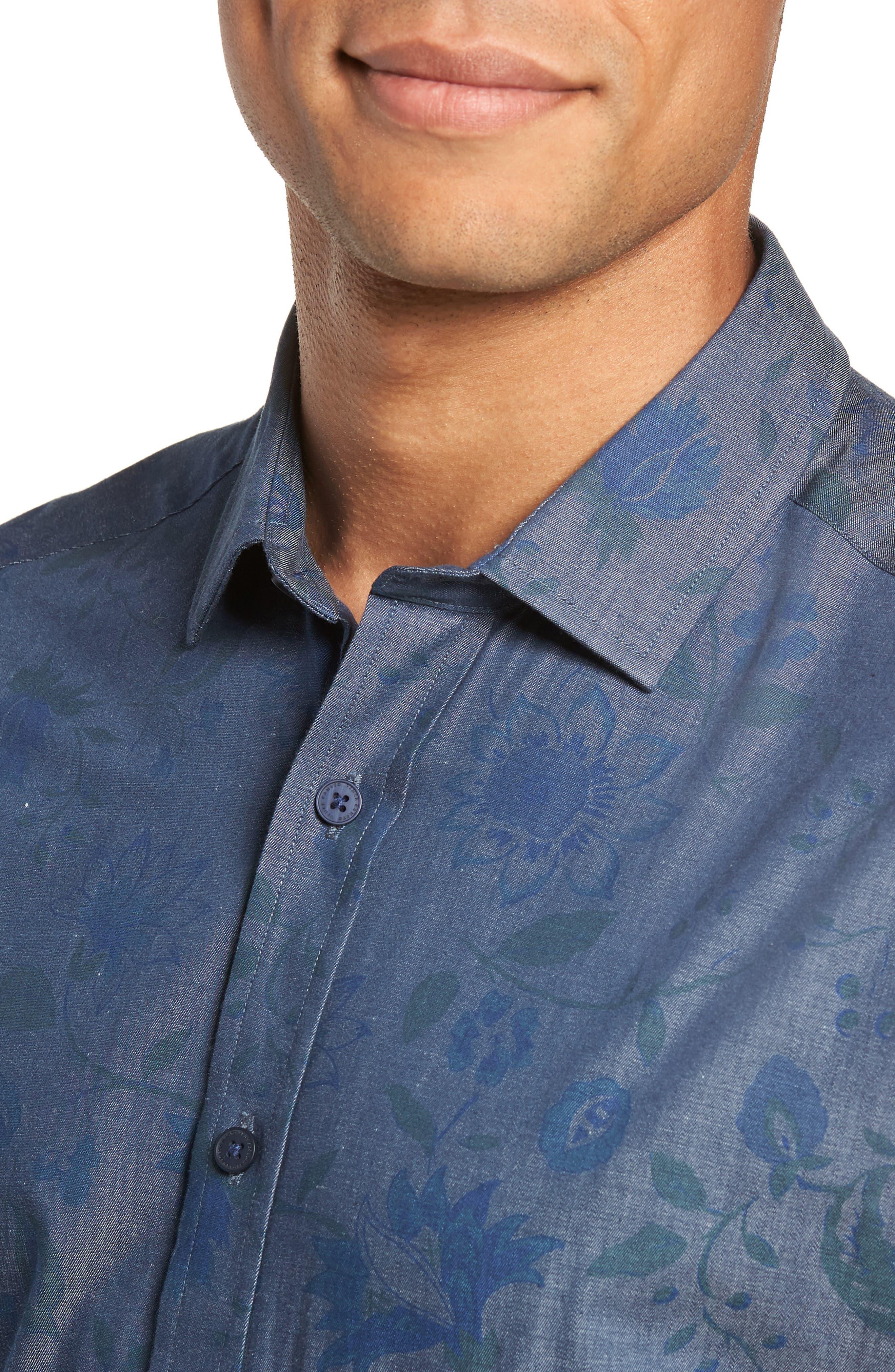 Slim Fit Floral Chambray Sport Shirt,                             Alternate thumbnail 2, color,                             INDIGO CHAMBRAY FLORAL PRINT