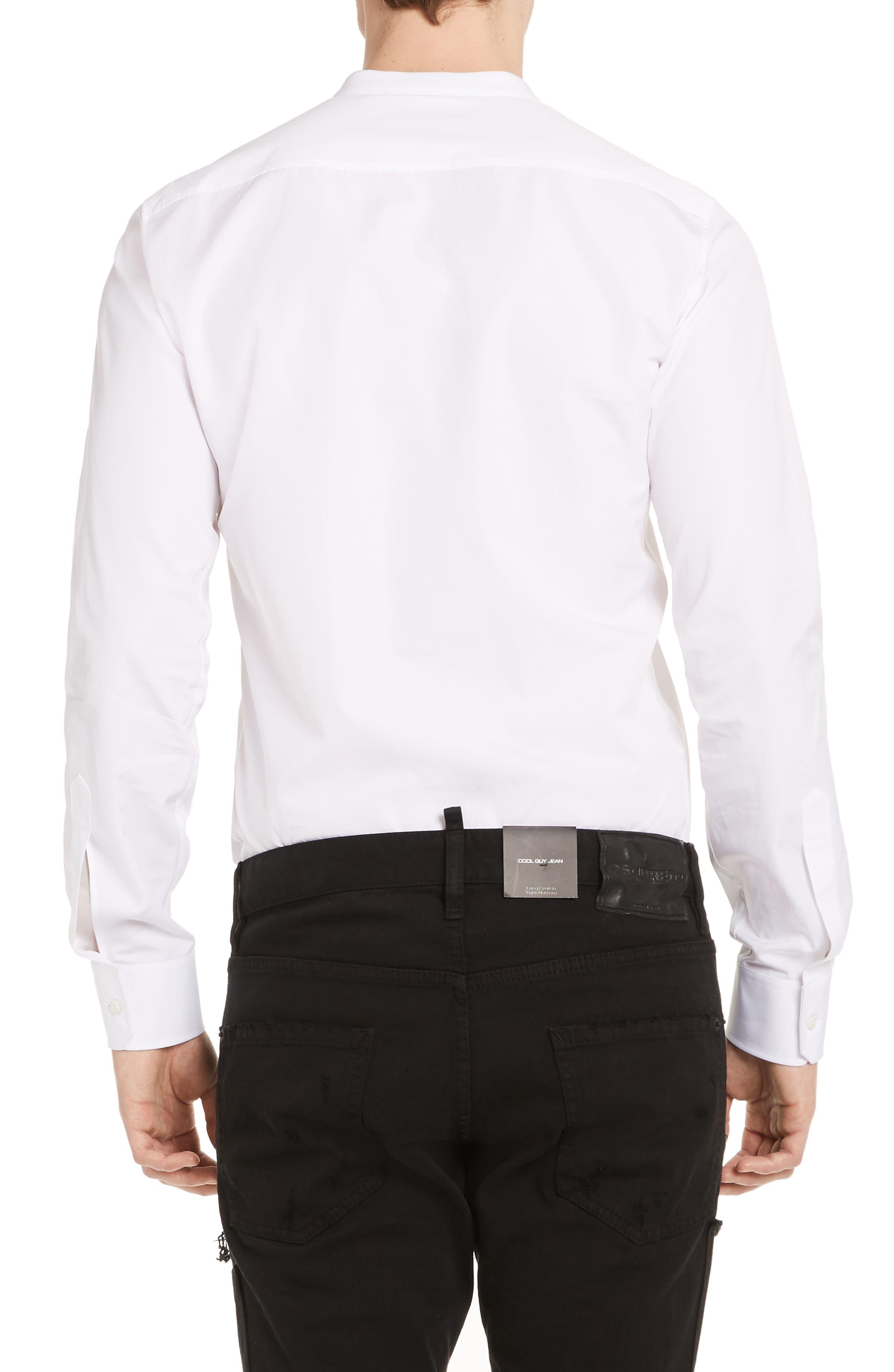 Band Collar Poplin Shirt,                             Alternate thumbnail 2, color,                             100