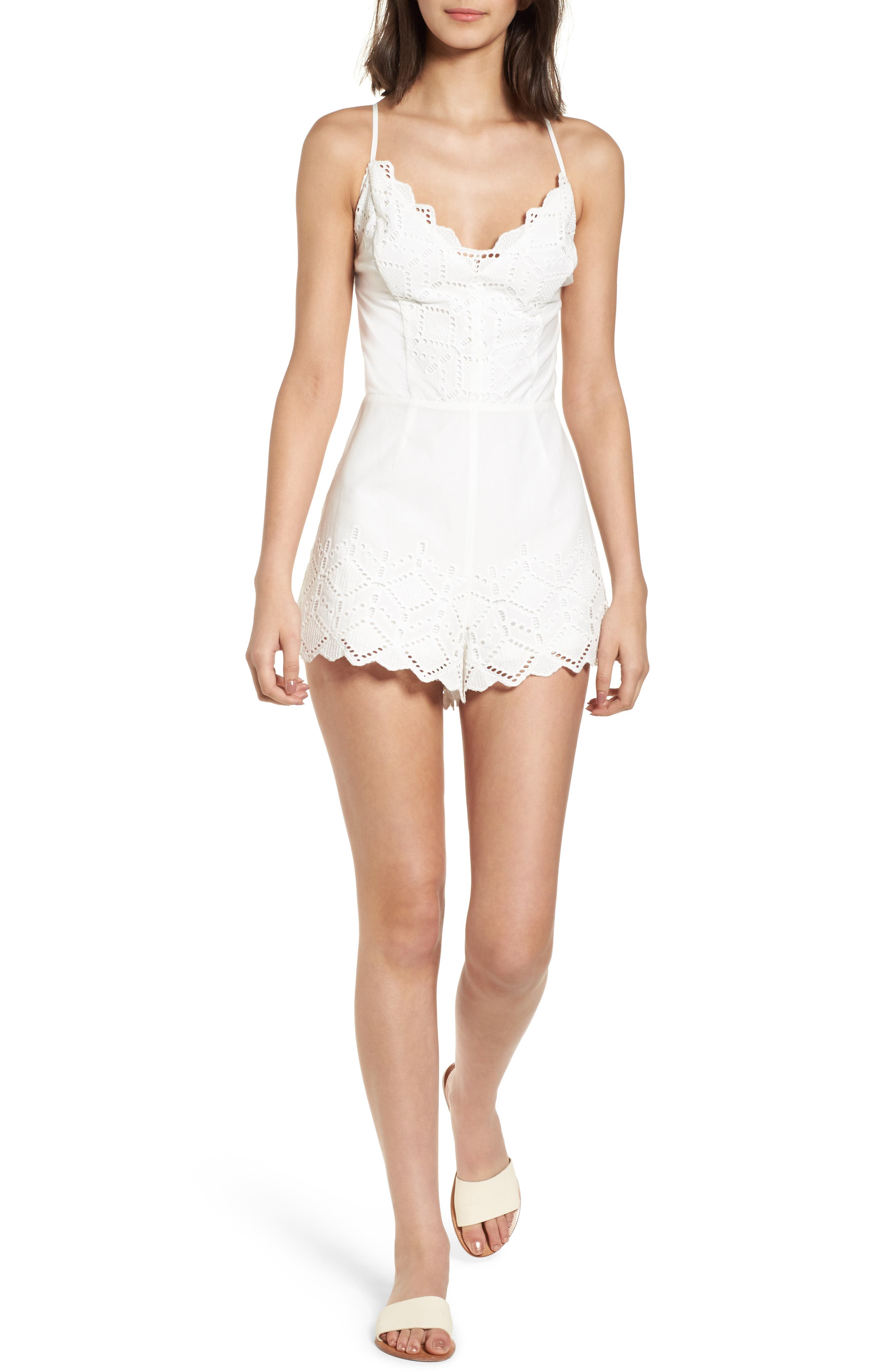 Strappy Eyelet Romper,                         Main,                         color, 100