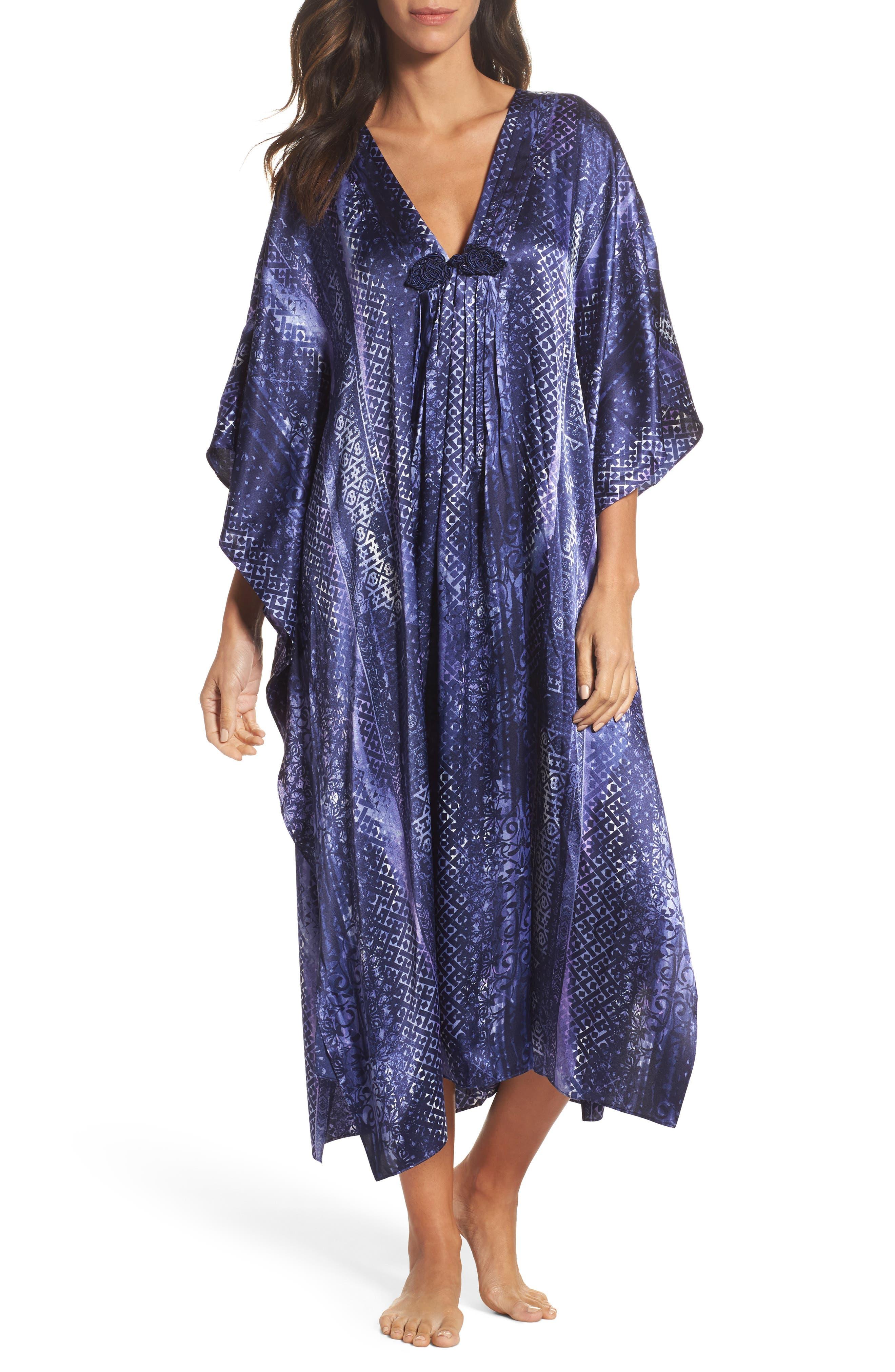 Sleepwear Charmeuse Caftan,                         Main,                         color, 497