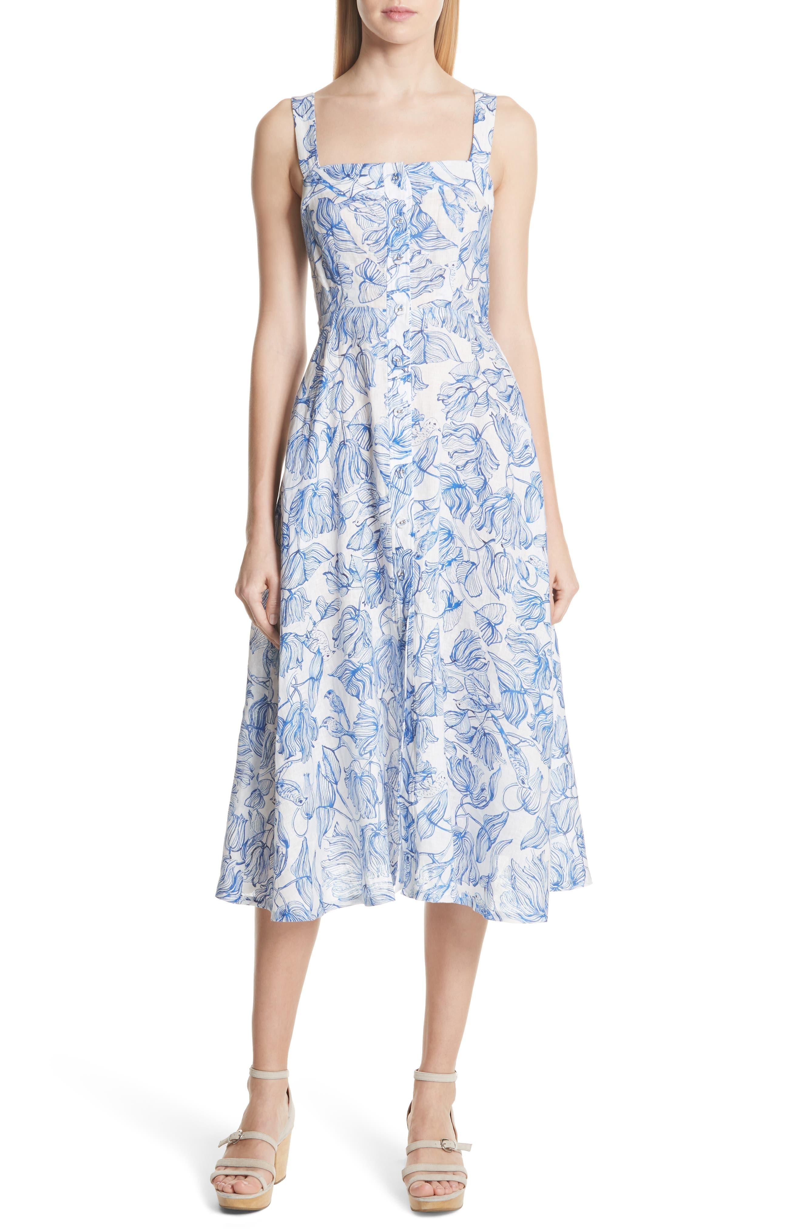 RACHEL COMEY Lido Linen Dress, Main, color, 435