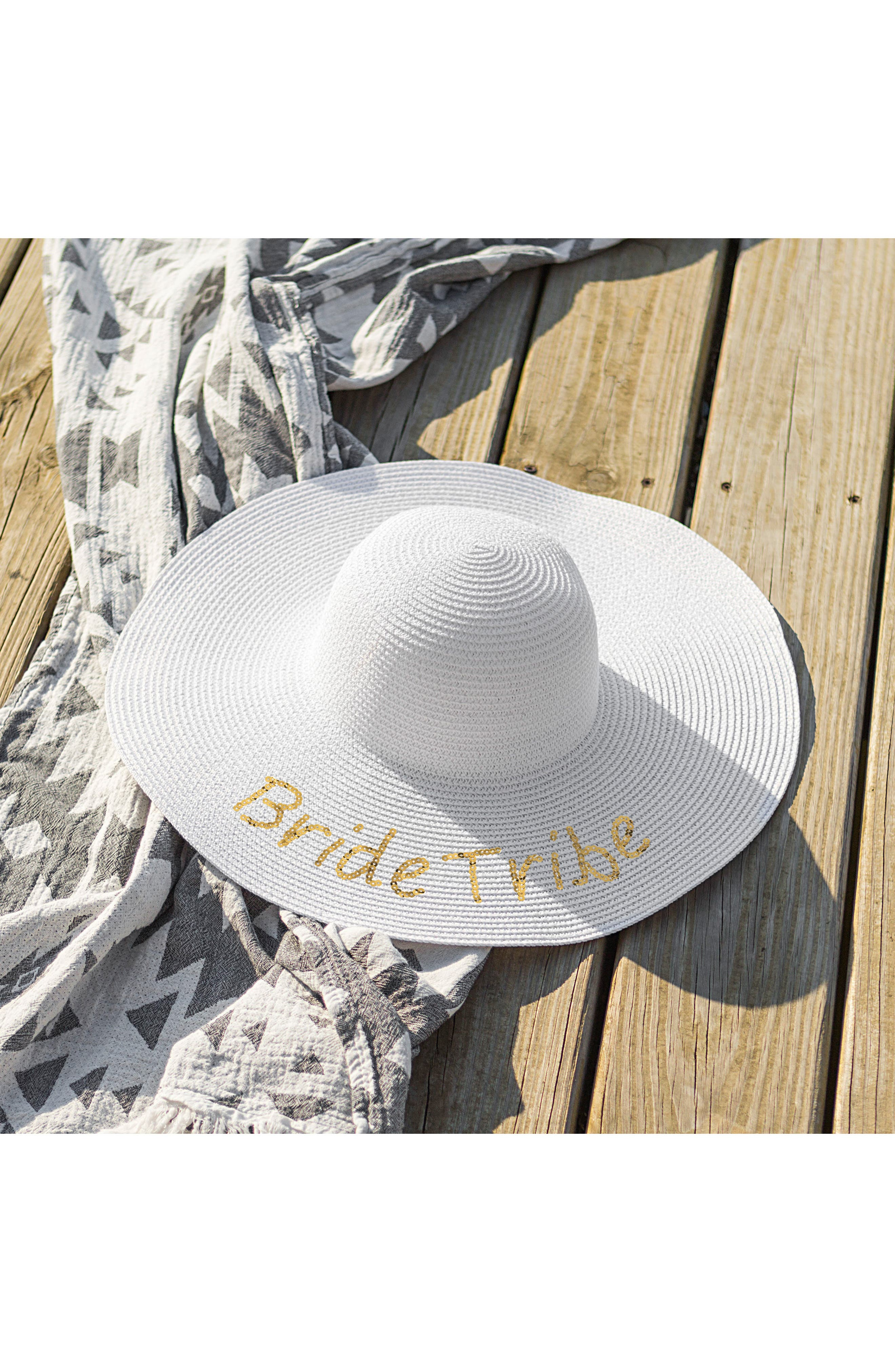 Sequin Bride Tribe Straw Hat,                             Alternate thumbnail 4, color,