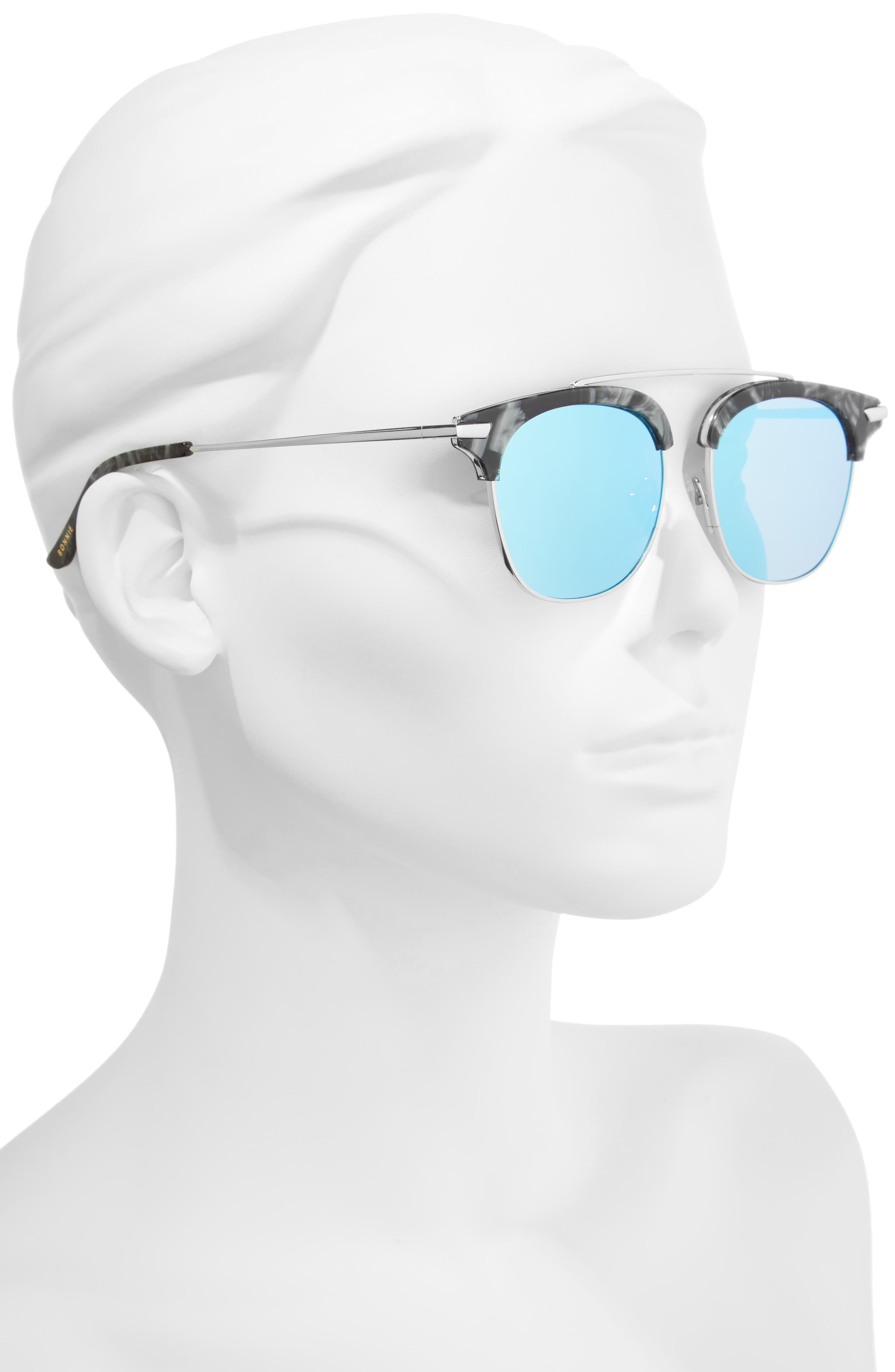Midway 51mm Polarized Brow Bar Sunglasses,                             Alternate thumbnail 2, color,                             BLUE