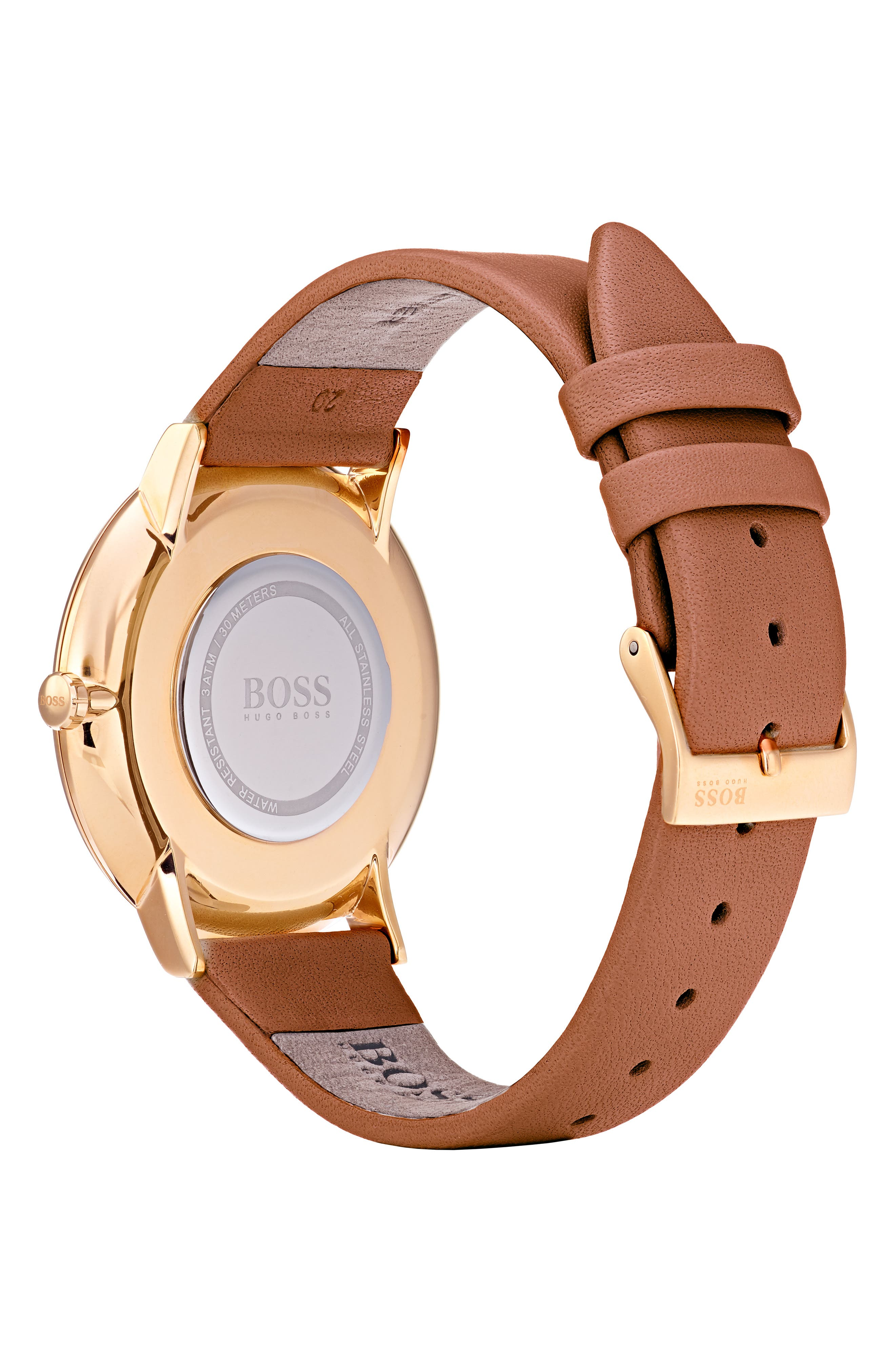 Jillian Ultra Slim Leather Strap Watch, 40mm,                             Alternate thumbnail 2, color,                             BROWN/ SILVER/ GOLD