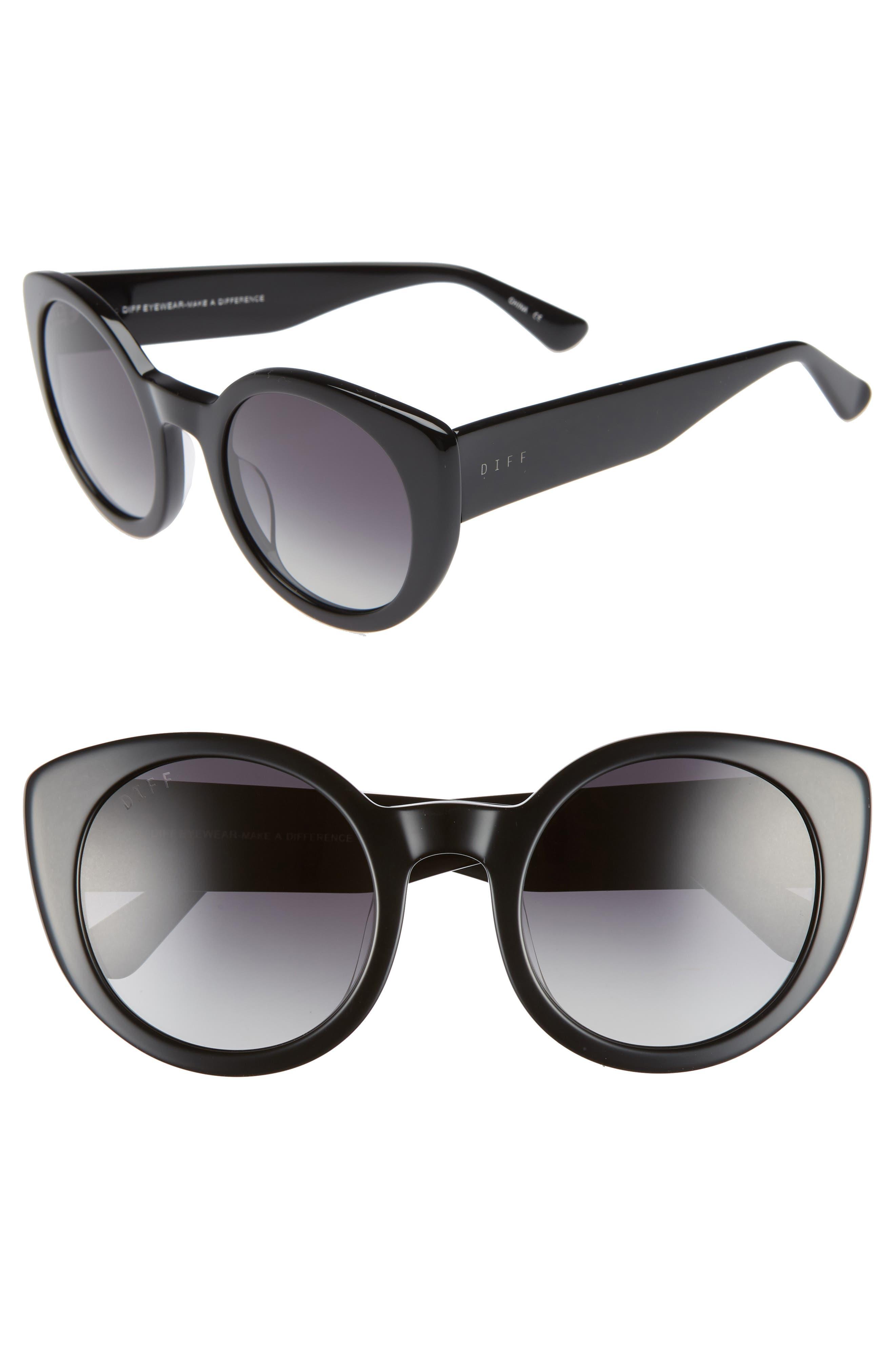 Luna 54mm Polarized Round Sunglasses,                         Main,                         color, BLACK/ GREY