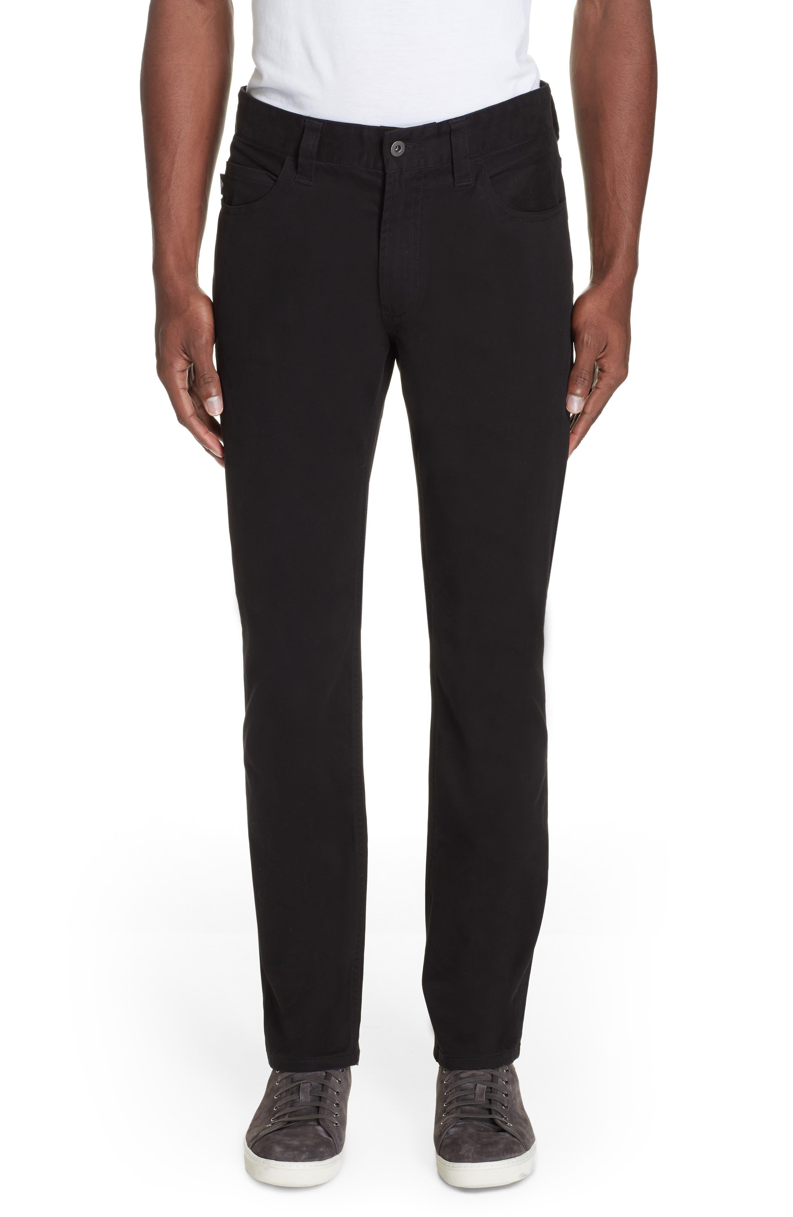 Stretch Cotton Five Pocket Trousers,                         Main,                         color, BLACK