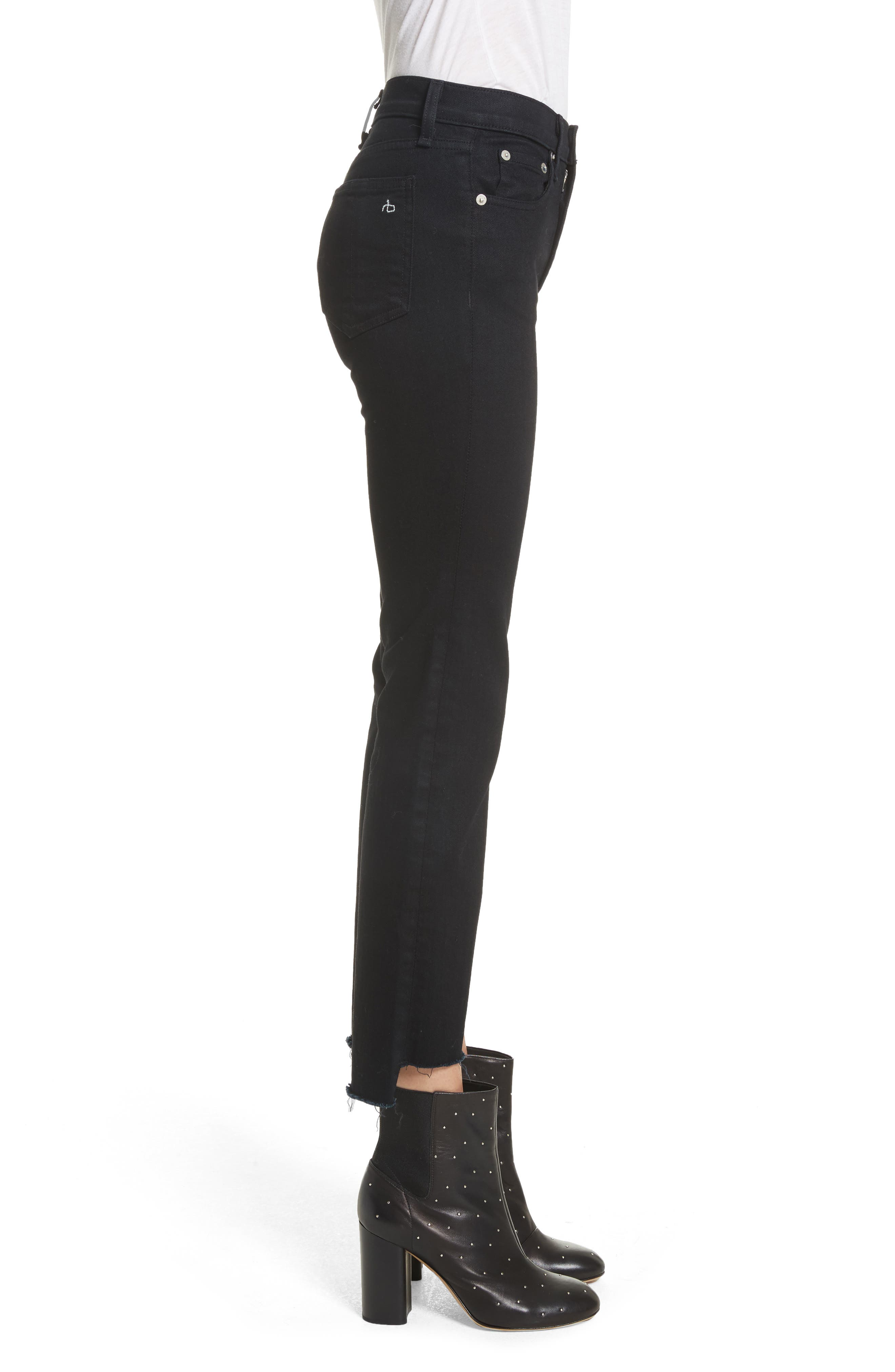 High Waist Stovepipe Jeans,                             Alternate thumbnail 3, color,                             001