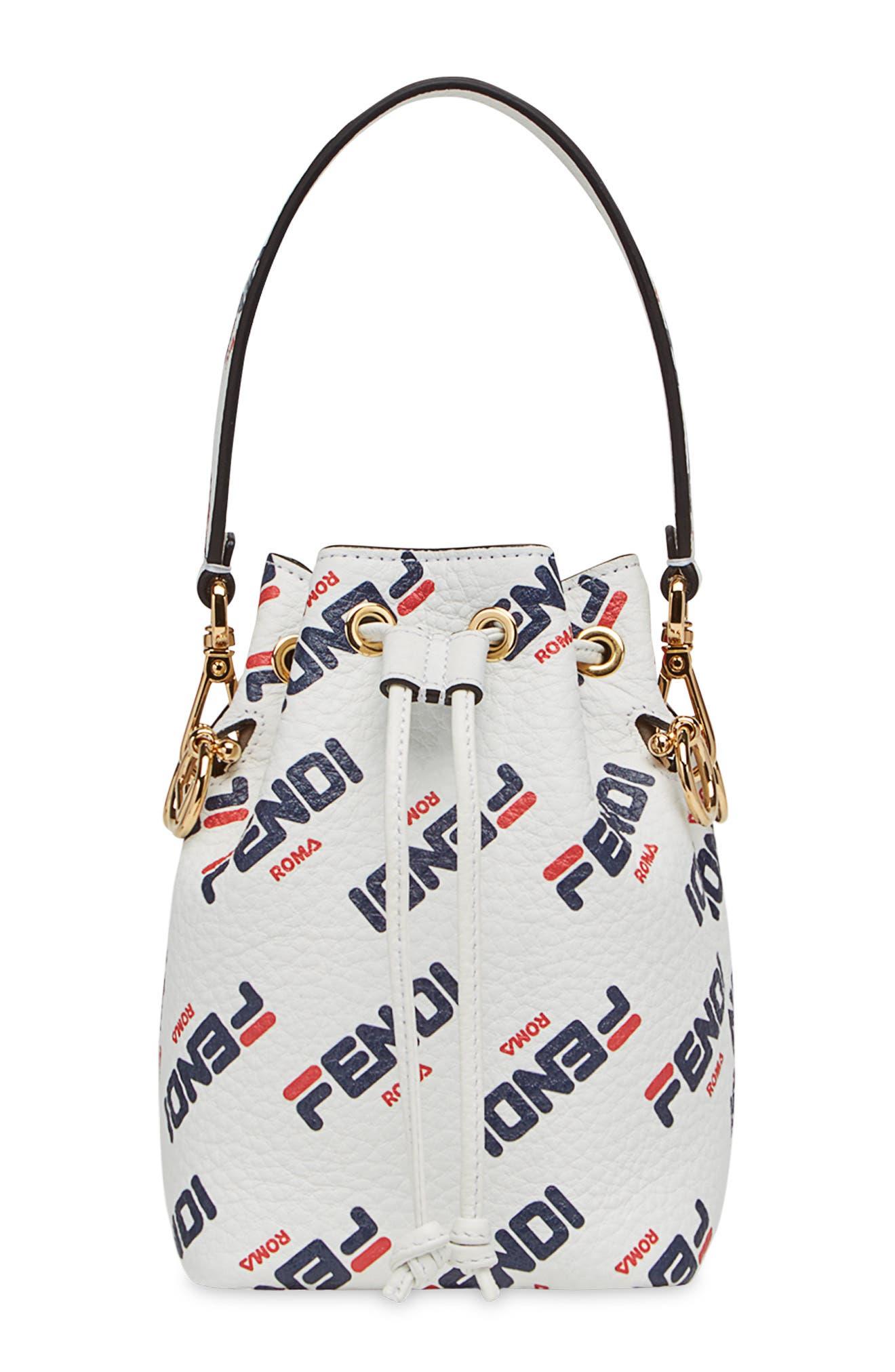 x FILA Mon Tresor Mania Logo Bucket Bag,                         Main,                         color, BIANCO/ ORO SOFT
