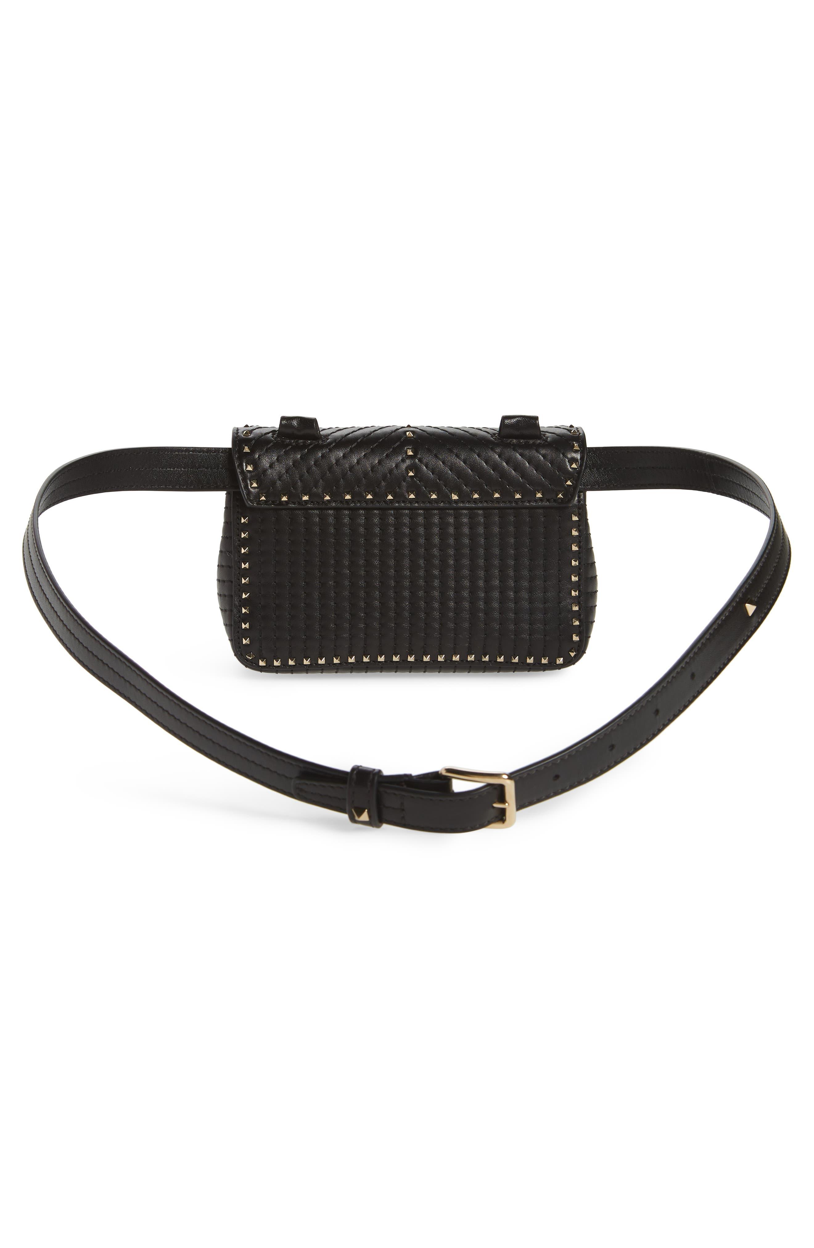 Mini Ziggystud Leather Convertible Crossbody/Belt Bag,                             Alternate thumbnail 5, color,                             001
