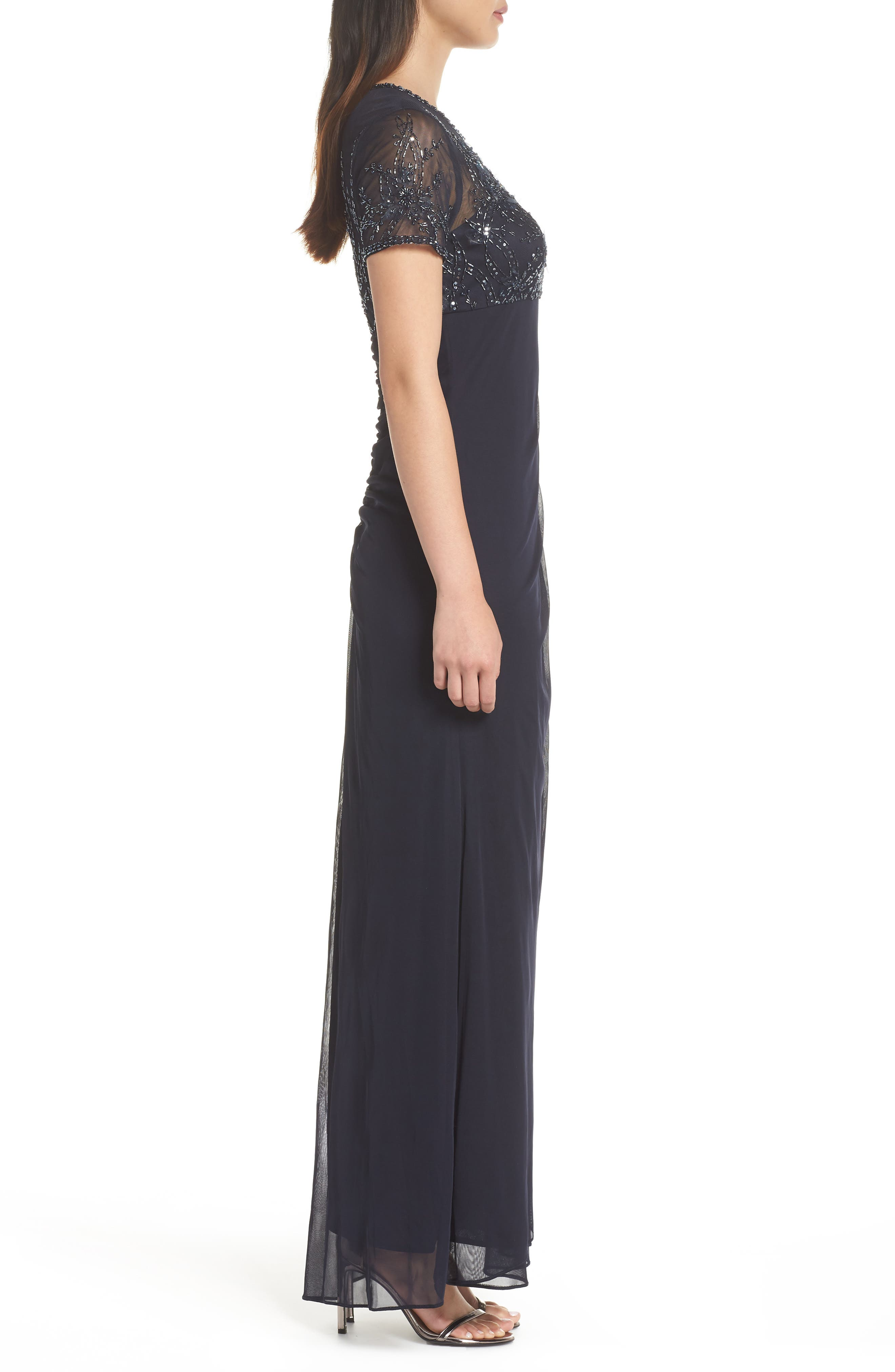 Side Ruched Beaded Gown,                             Alternate thumbnail 3, color,                             NAVY