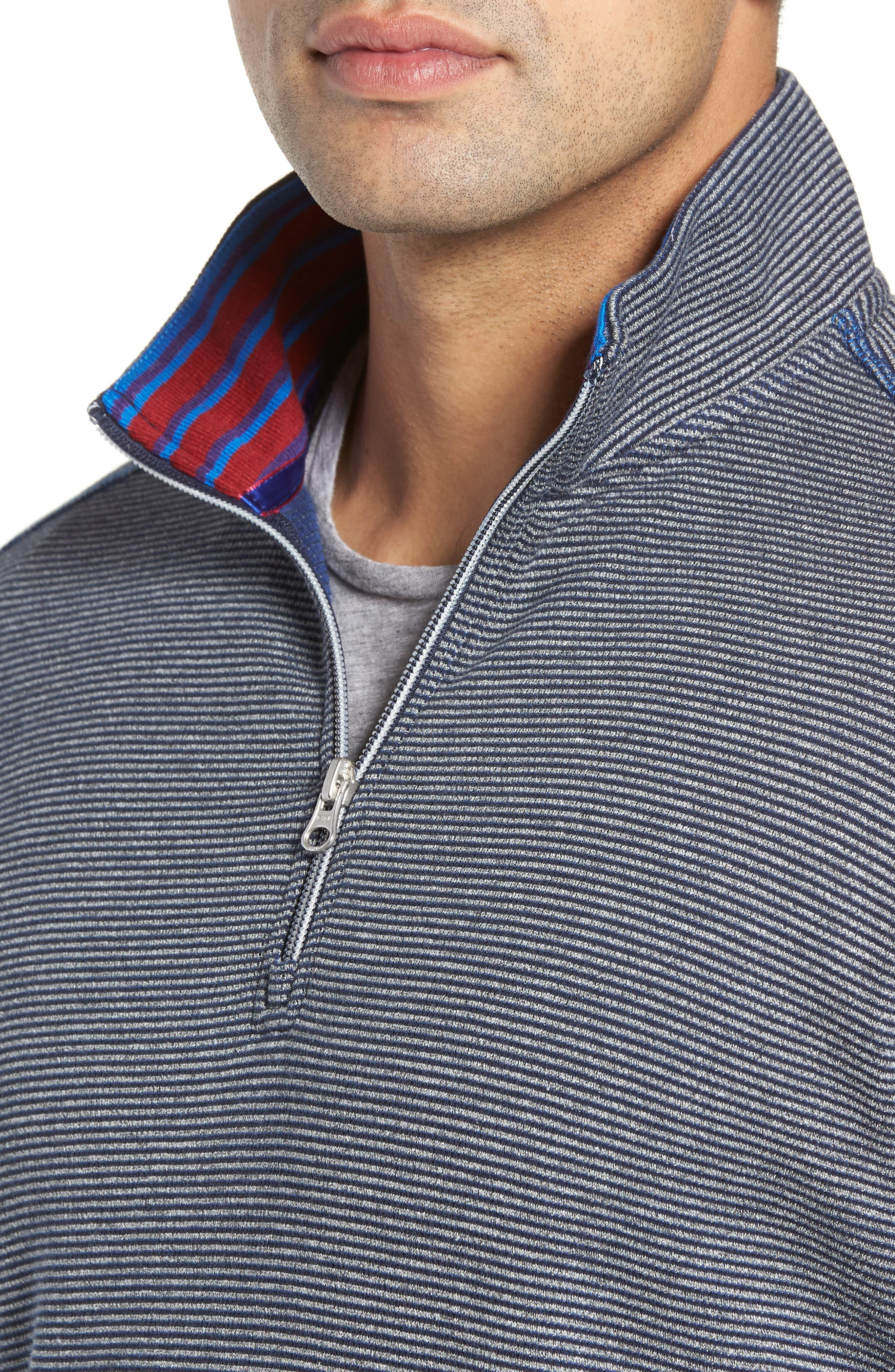Kitson Classic Fit Stripe Quarter Zip Sweater,                             Alternate thumbnail 4, color,                             HEATHER NAVY