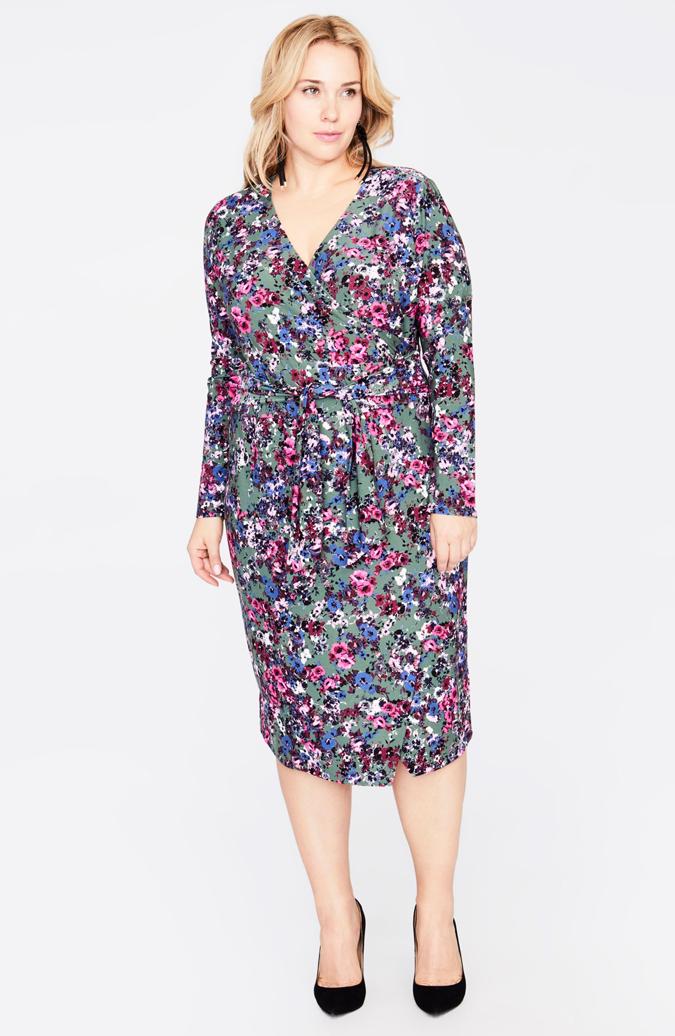 Tie Waist Print Jersey Dress,                             Alternate thumbnail 3, color,                             GREEN COMBO