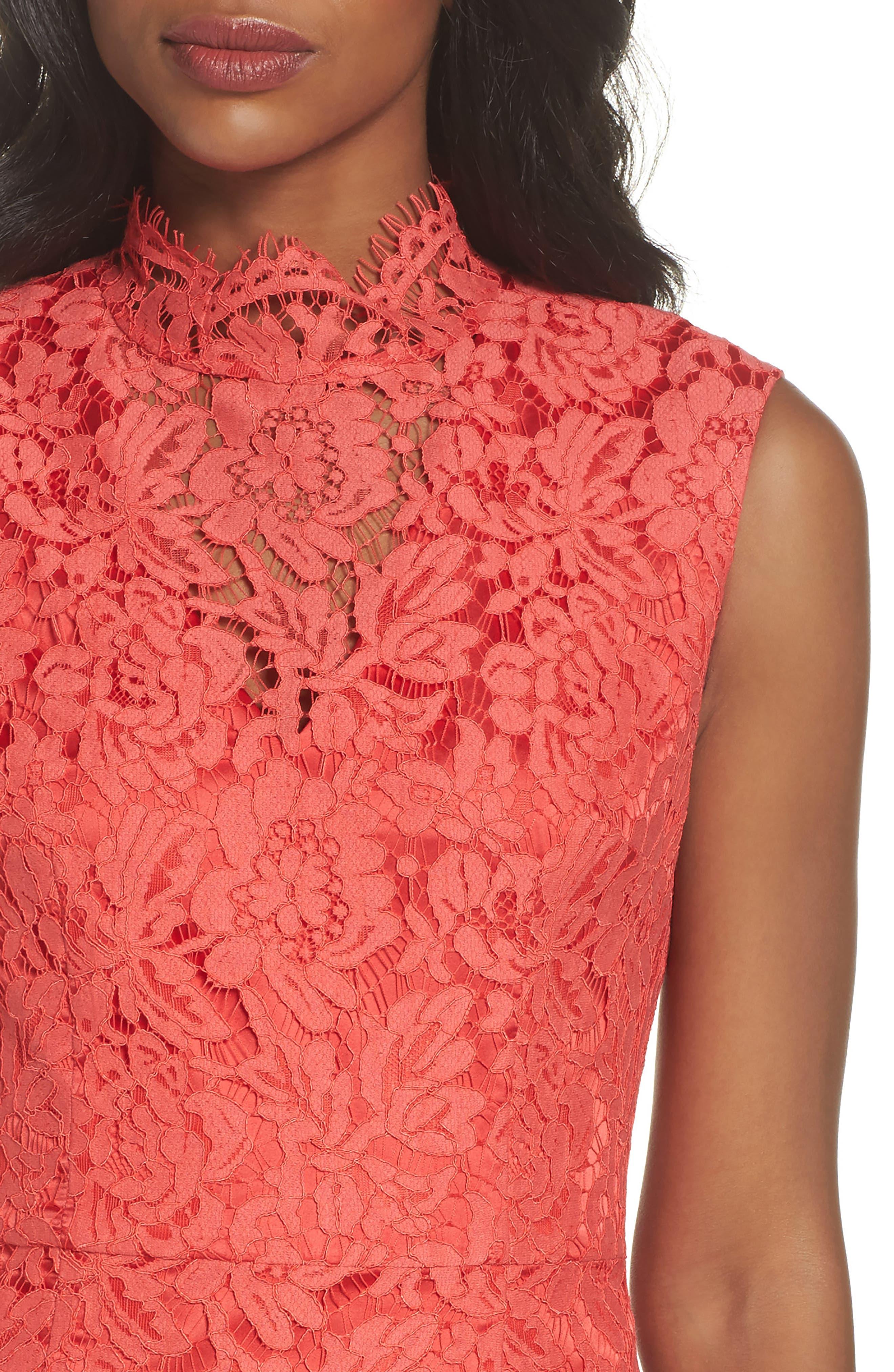Open Back Lace Sheath Dress,                             Alternate thumbnail 4, color,                             GRENADINE