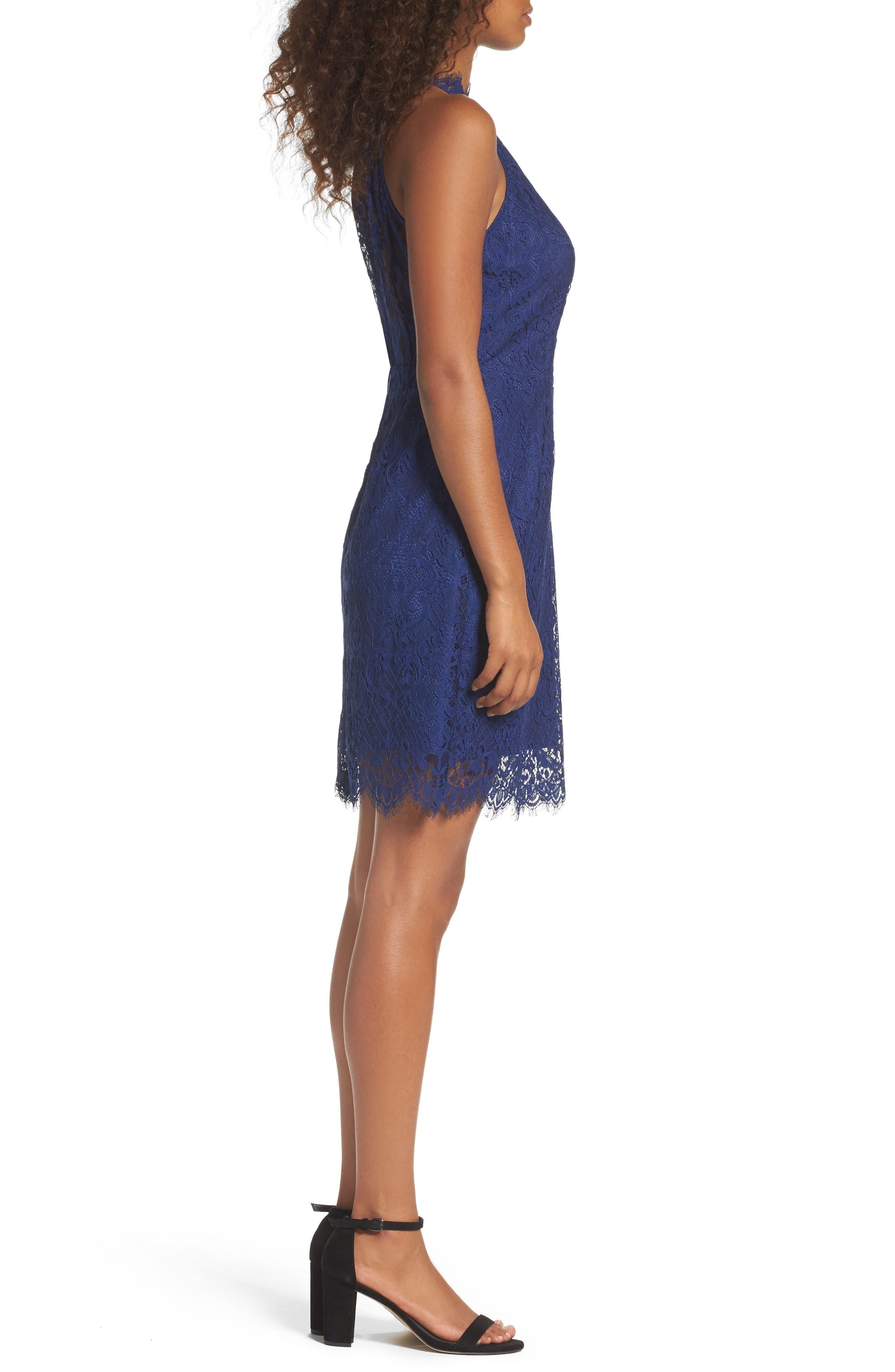 Cherie Lace Sheath Dress,                             Alternate thumbnail 3, color,                             401