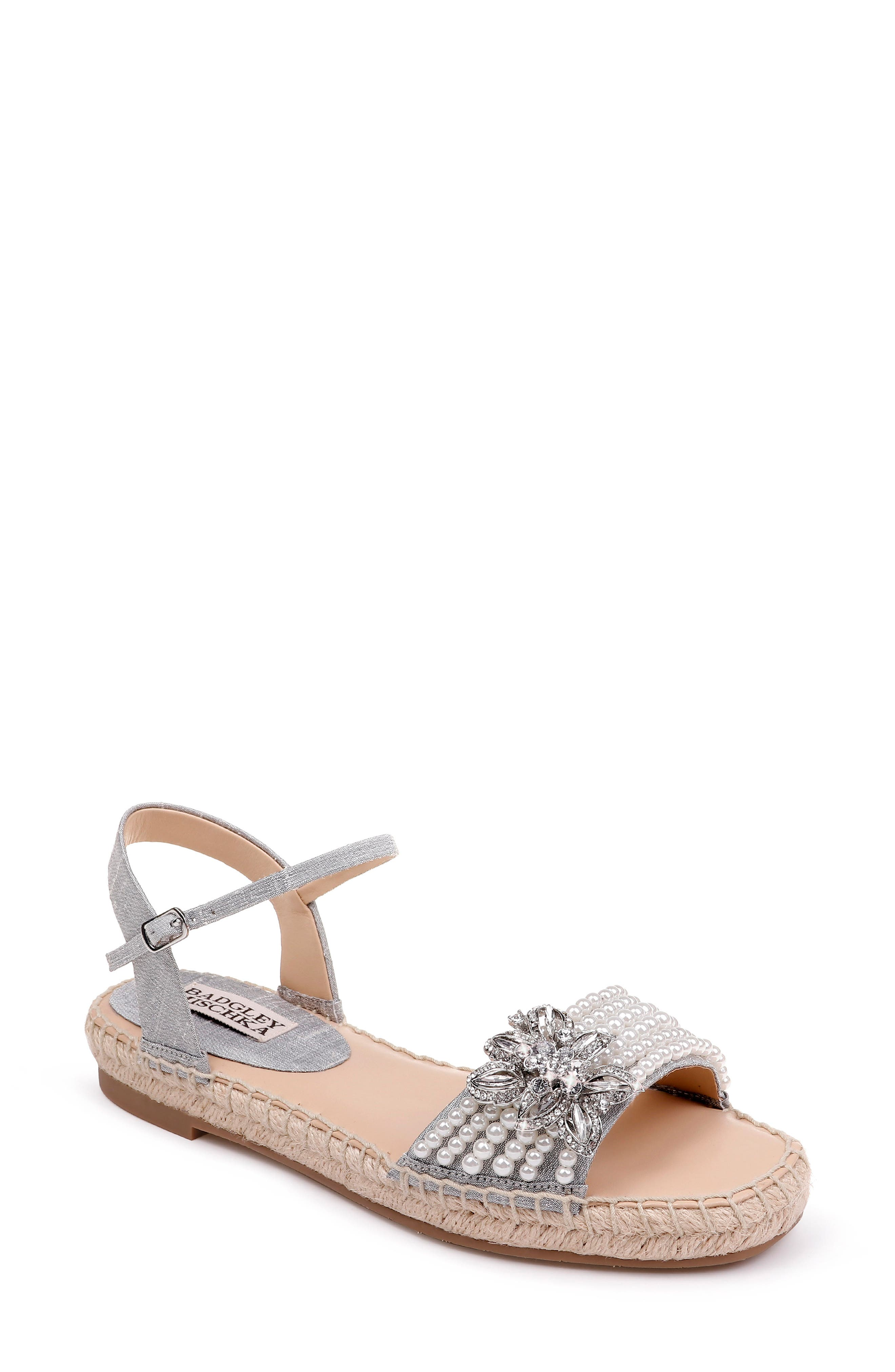 Badgley Mischka Leandra Espadrille Sandal,                             Main thumbnail 1, color,                             SILVER FABRIC