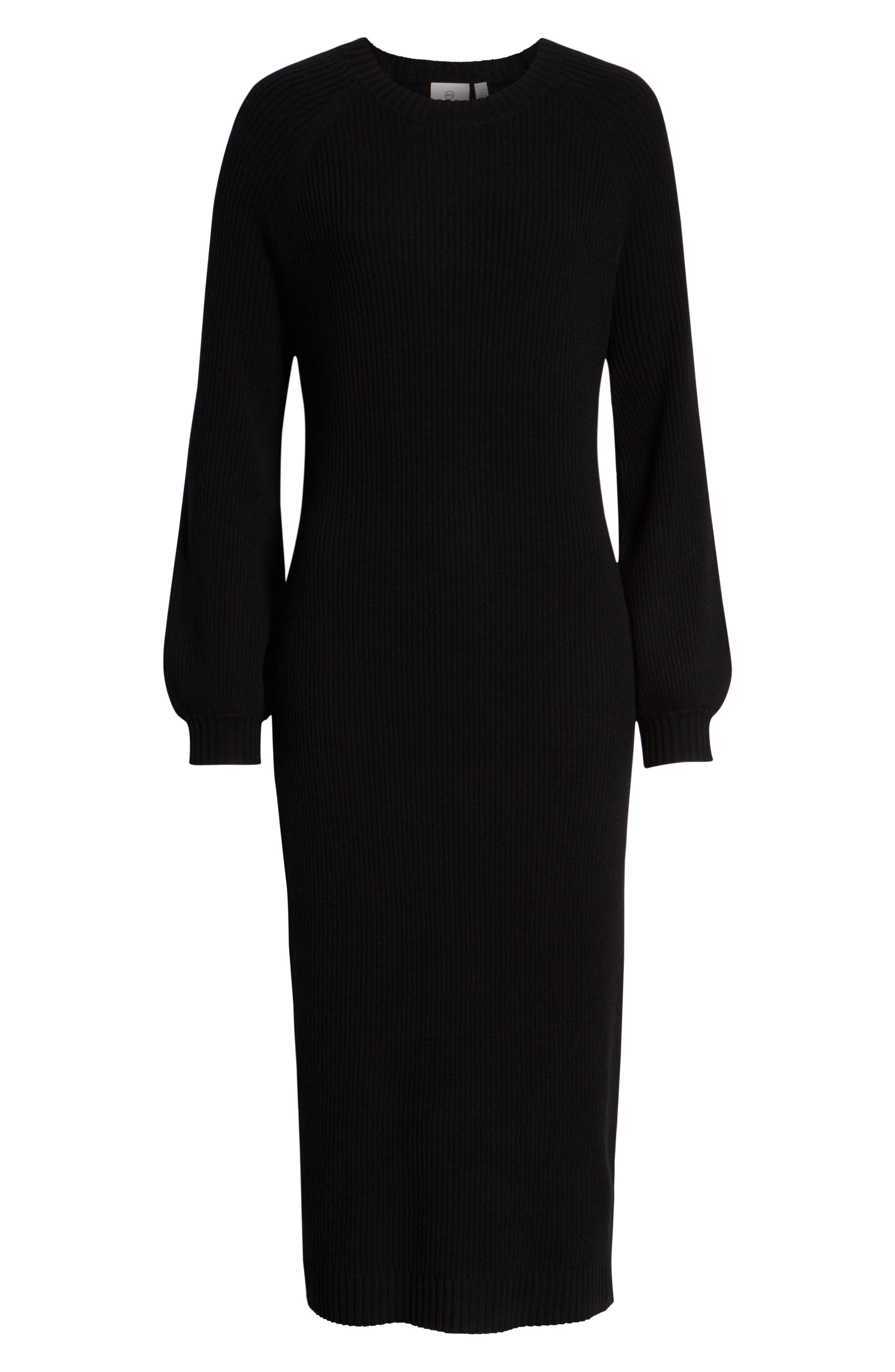 Quaid Knit Sweater Dress,                             Alternate thumbnail 7, color,                             TRUE BLACK