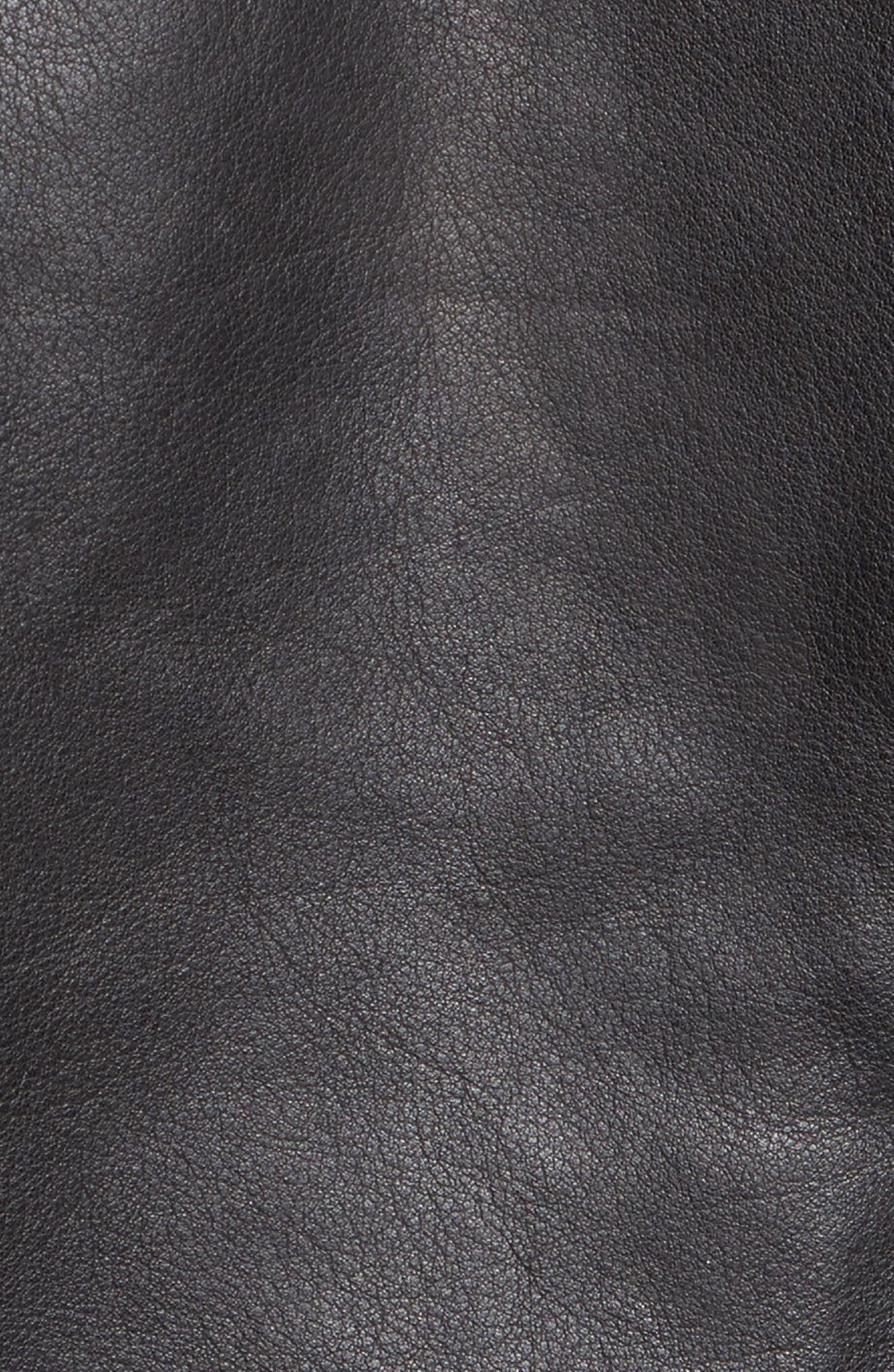 Wes Leather Moto Jacket,                             Alternate thumbnail 5, color,                             001