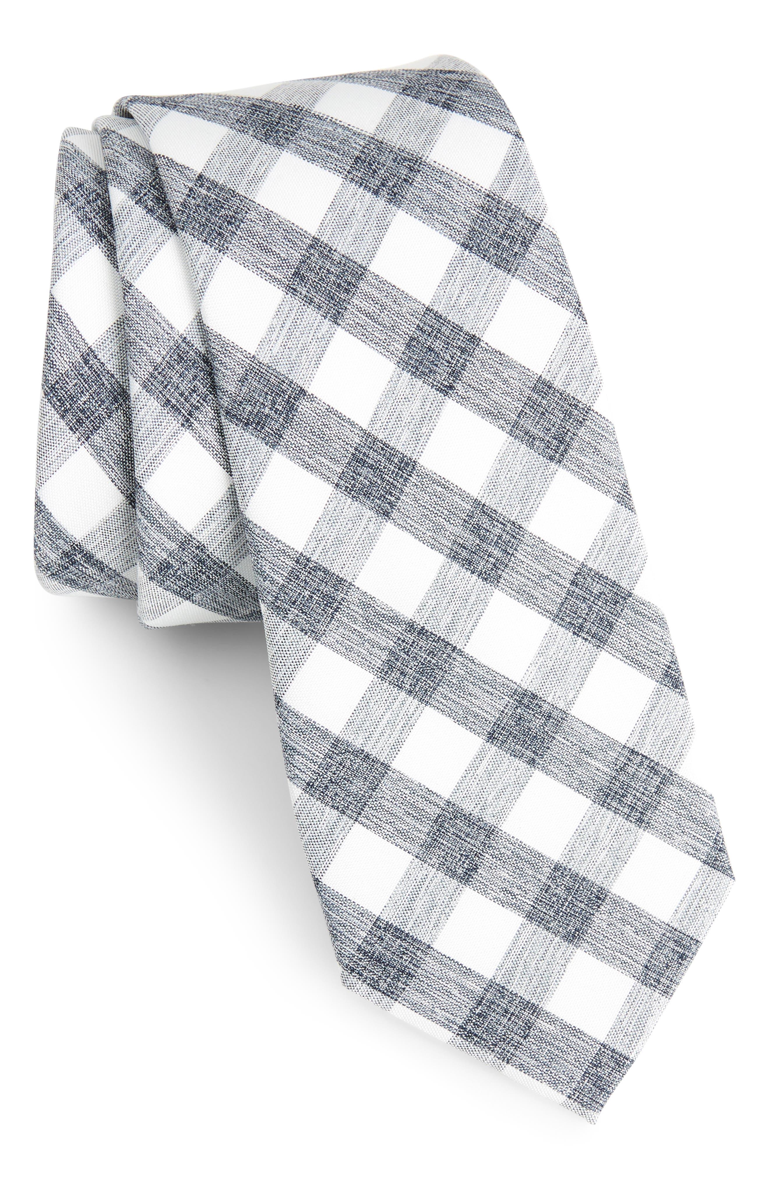 Larkin Check Cotton Tie,                             Main thumbnail 1, color,                             001