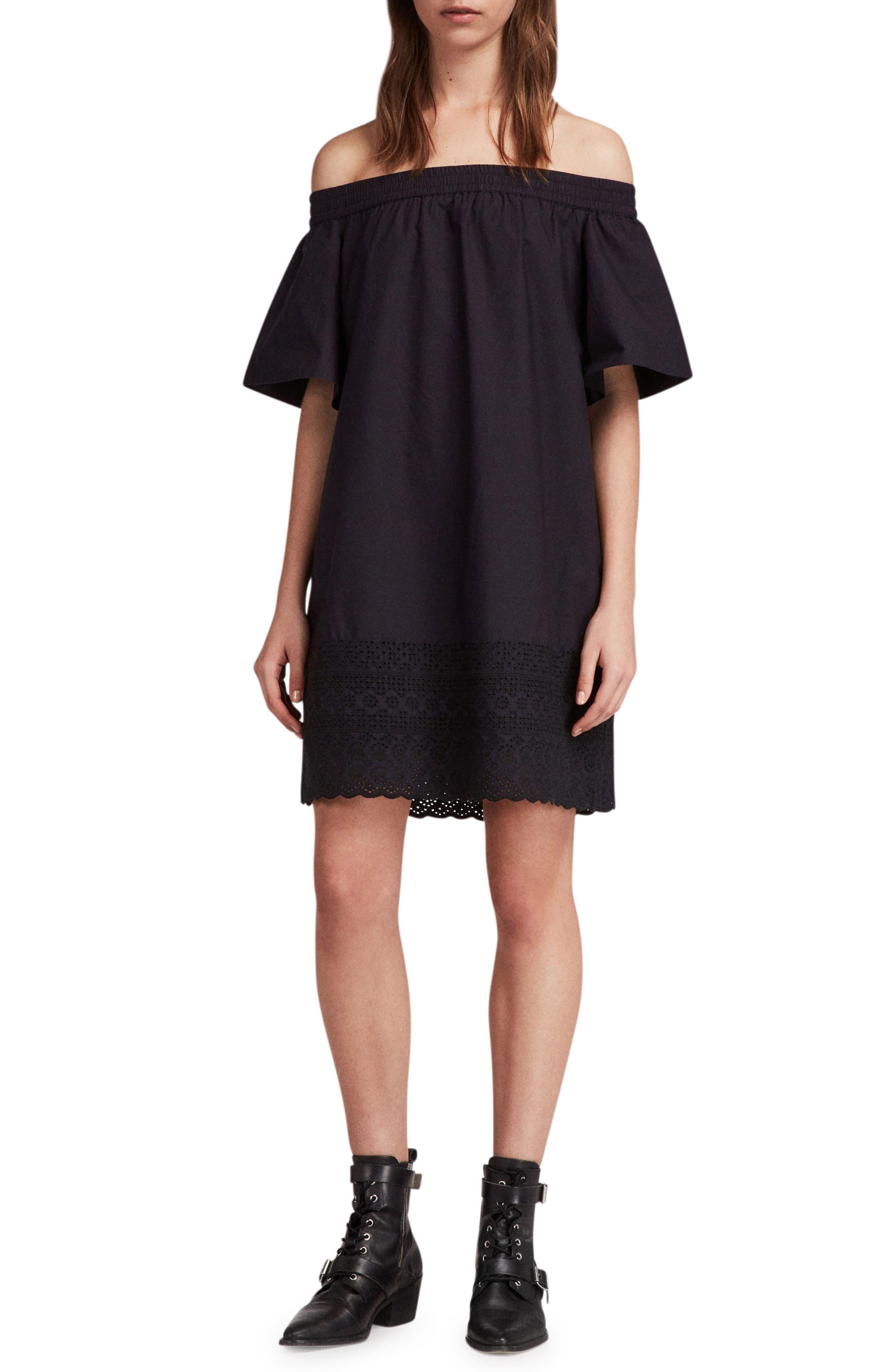 Livia Trixi Off the Shoulder Cotton Dress,                             Main thumbnail 1, color,                             BLACK