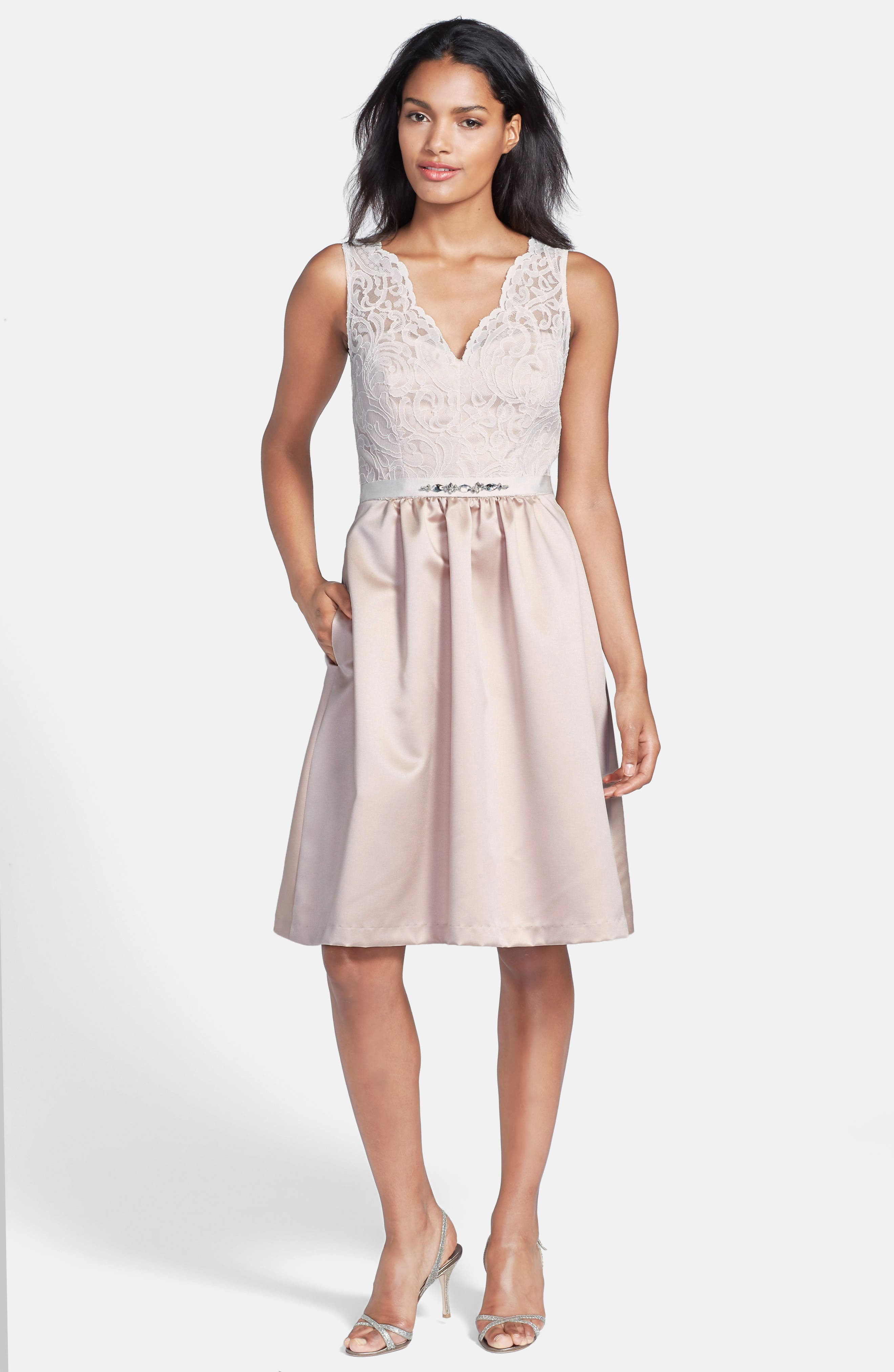 Embellished Lace with Satin Fit & Flare Dress,                             Alternate thumbnail 4, color,                             101