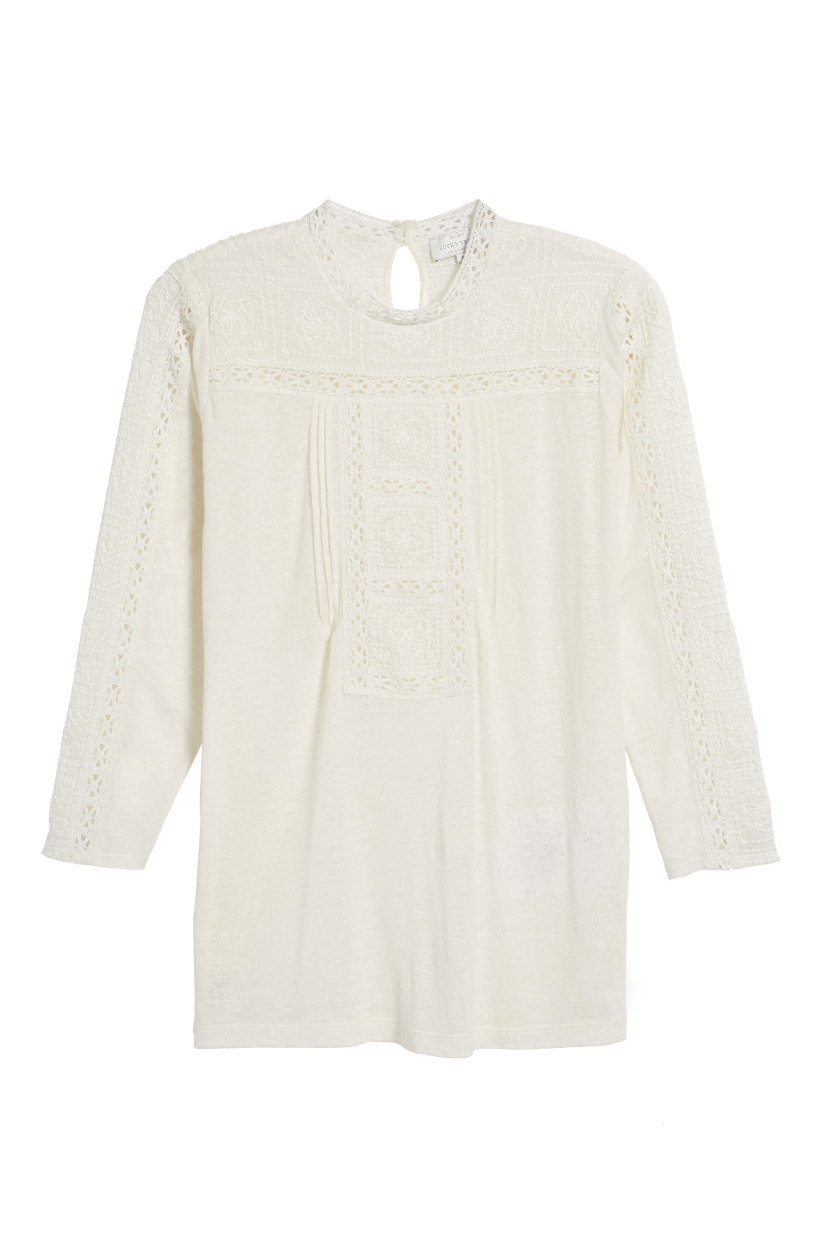 Embroidered Eyelet Trim Top,                             Alternate thumbnail 6, color,                             900
