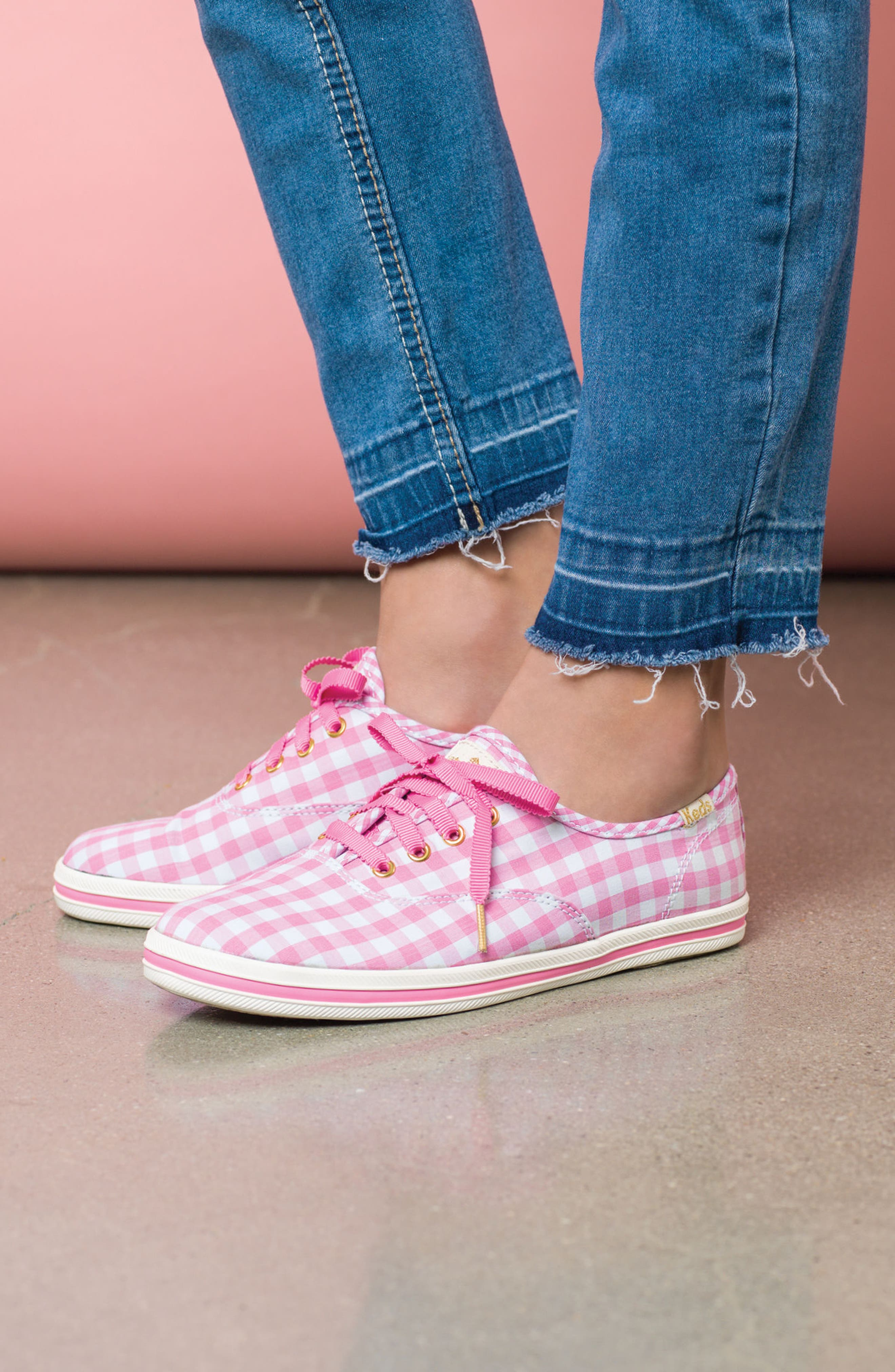 x kate spade new york champion gingham lace-up shoe,                             Alternate thumbnail 7, color,                             650