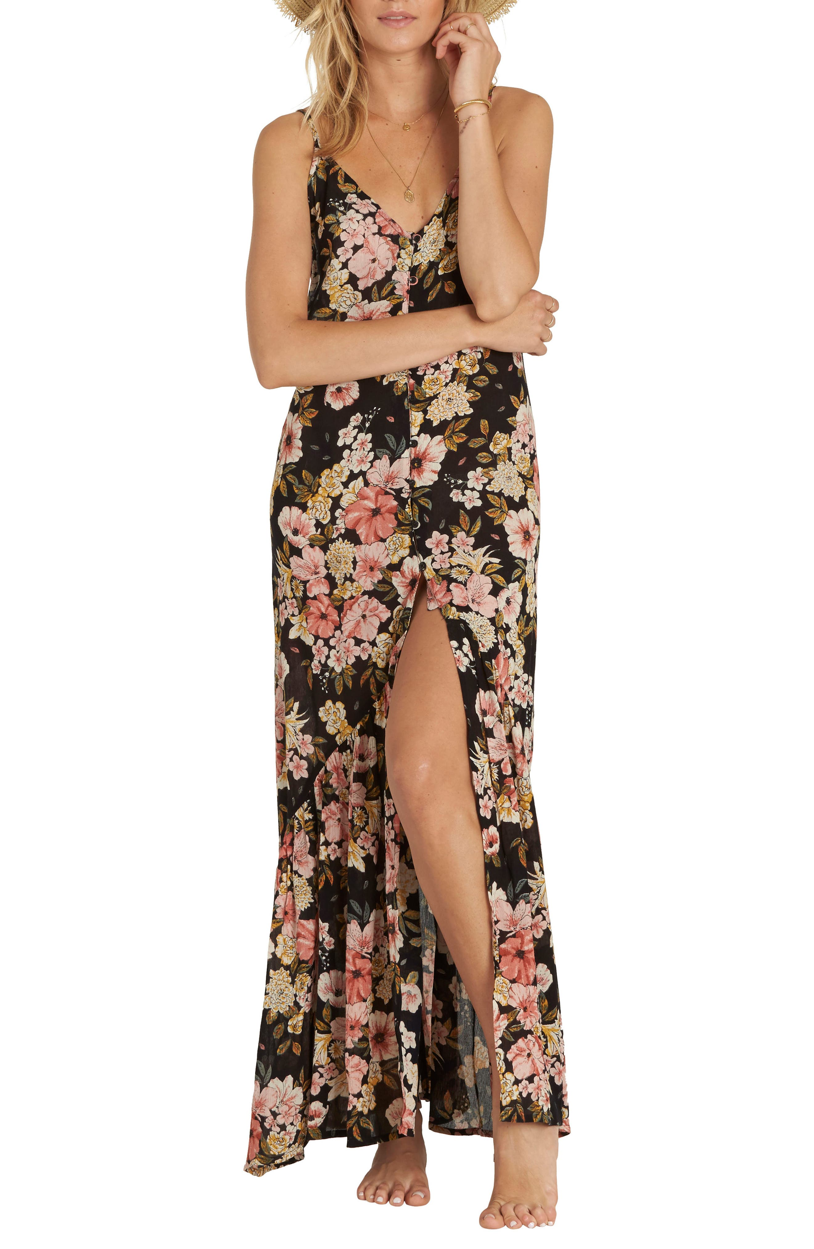 Dance on Air Button Front Maxi Dress,                         Main,                         color, 001