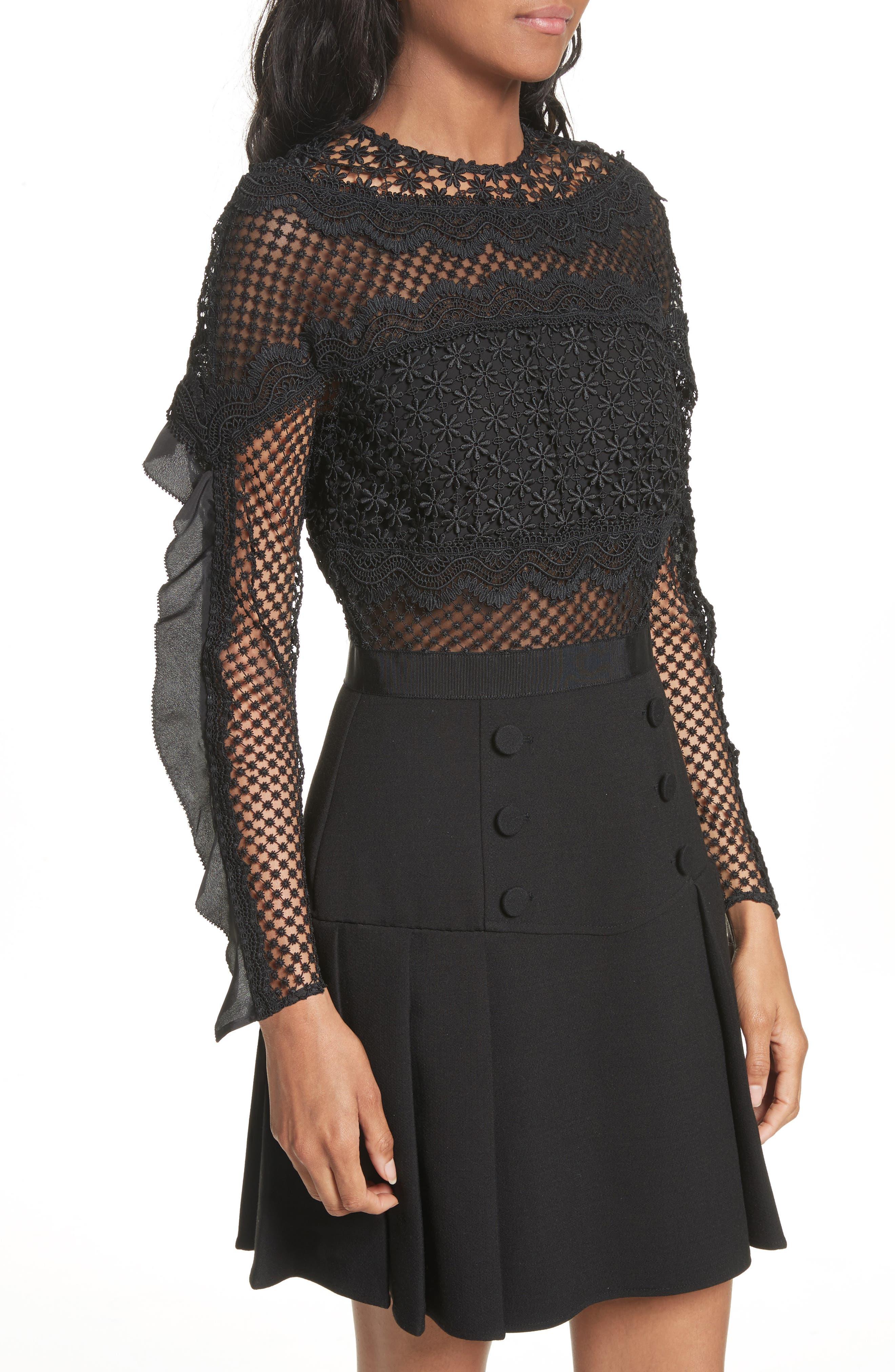 Bellis Lace Fit & Flare Dress,                             Alternate thumbnail 4, color,                             001