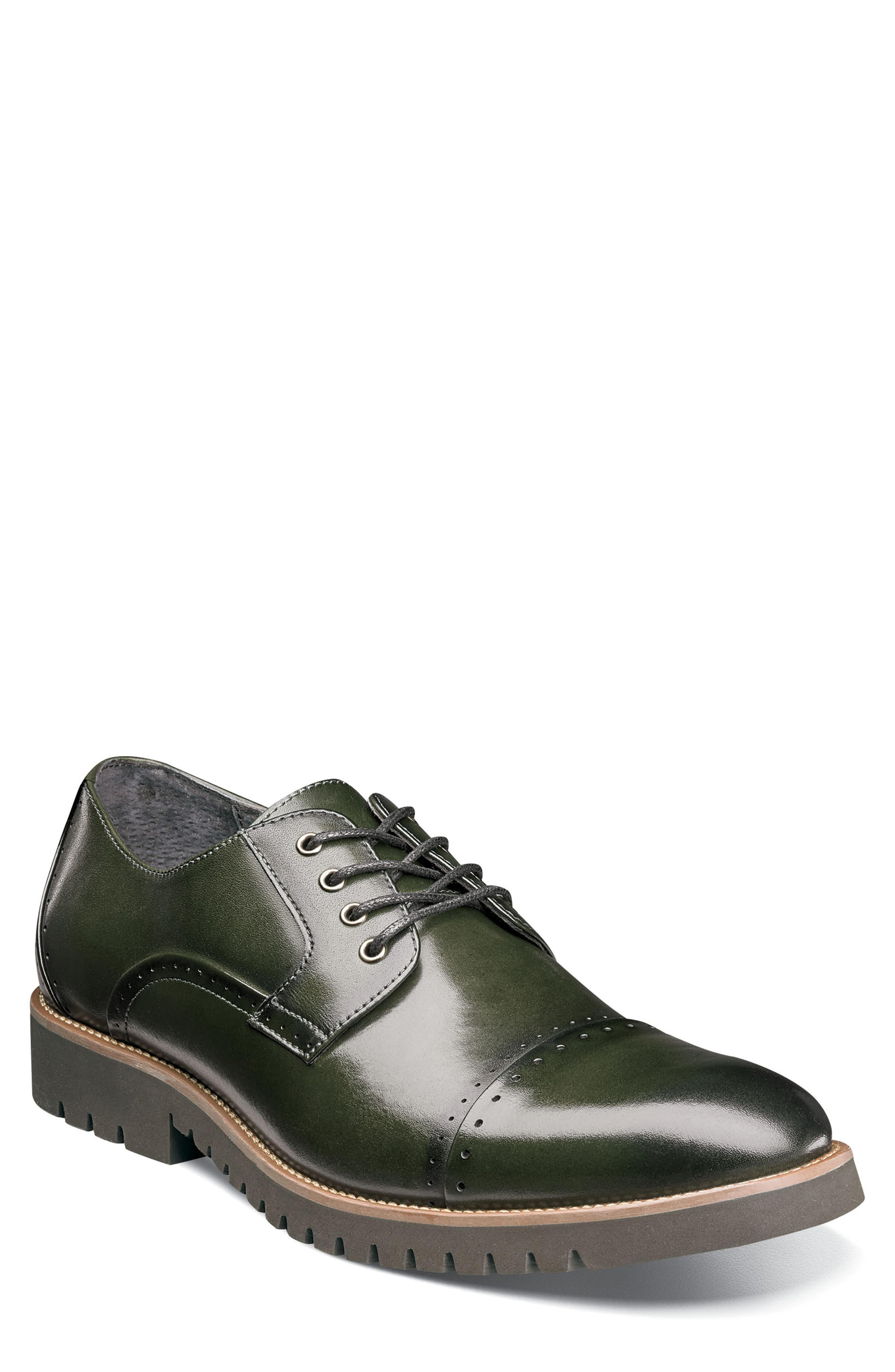 Barcliff Cap Toe Derby,                             Main thumbnail 1, color,                             CARGO GREEN LEATHER