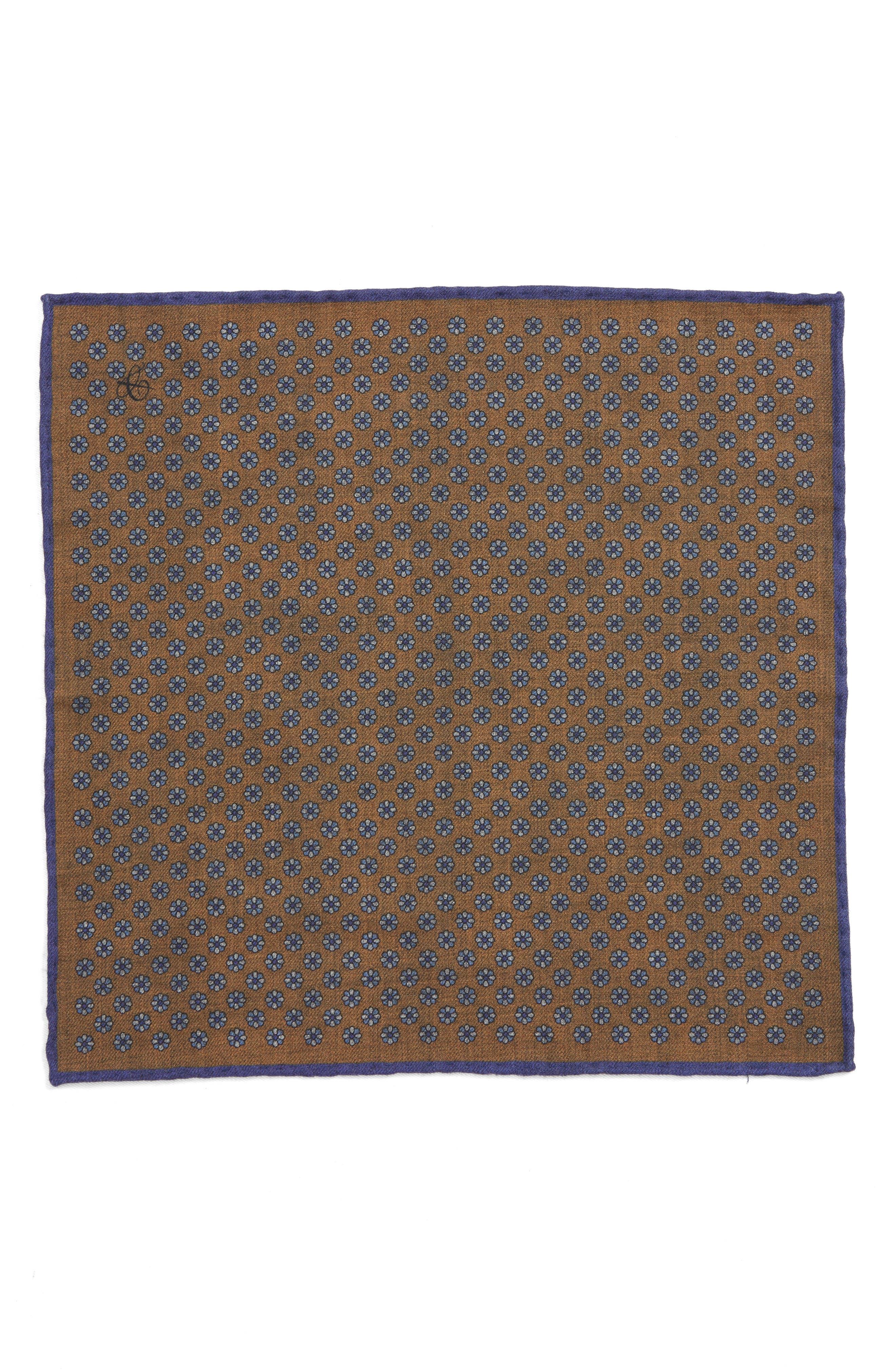Medallion Wool Pocket Square,                             Alternate thumbnail 2, color,                             BROWN