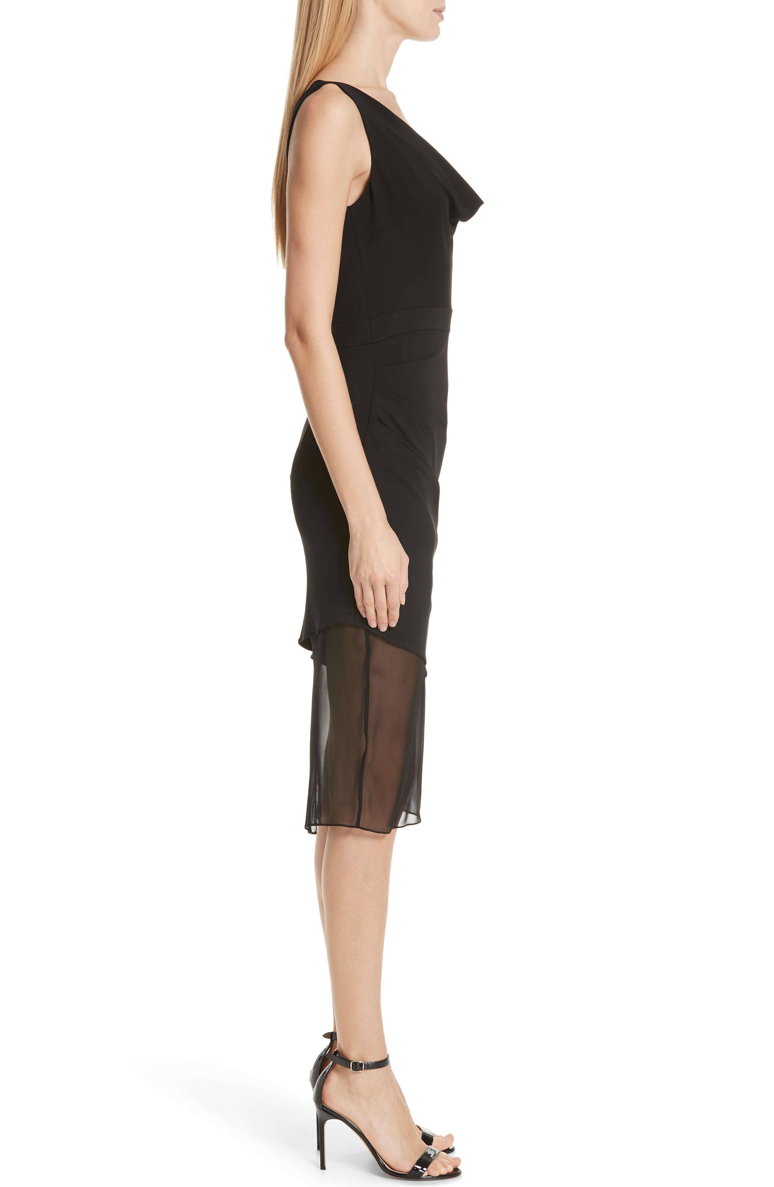 CUSHNIE,                             Cowl Neck Dress,                             Alternate thumbnail 3, color,                             BLACK