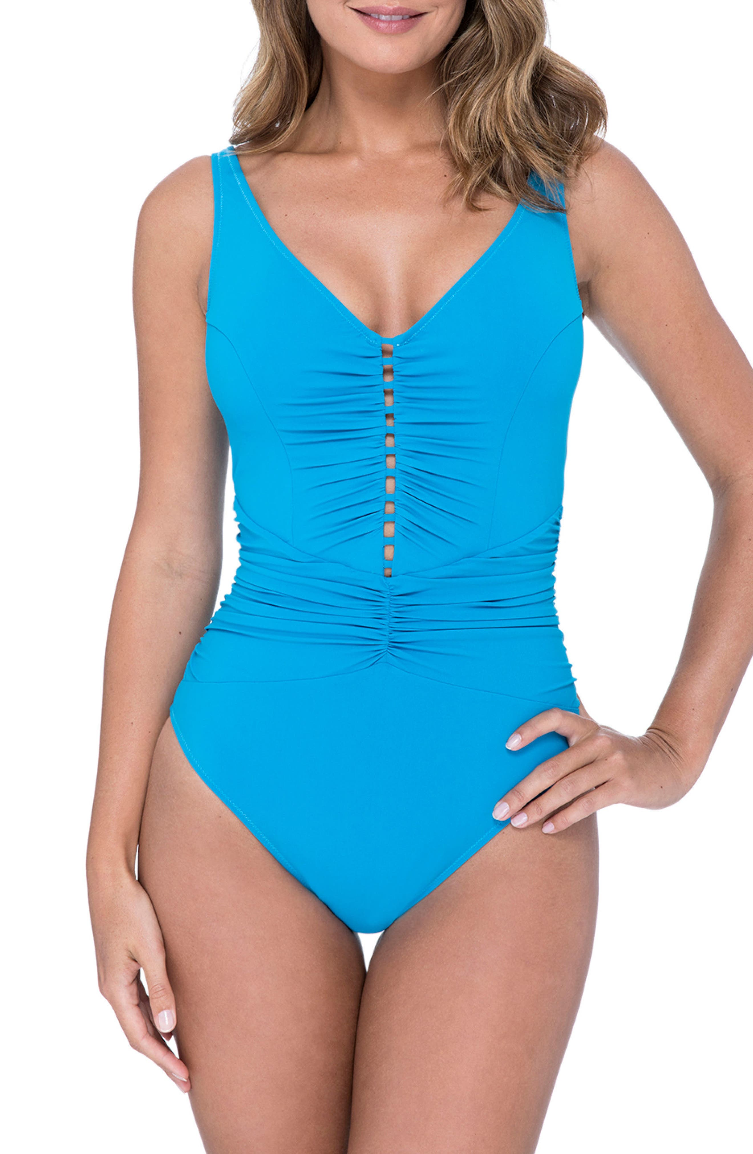 Cocktail Party One-Piece Swimsuit,                             Main thumbnail 1, color,                             PEACOCK