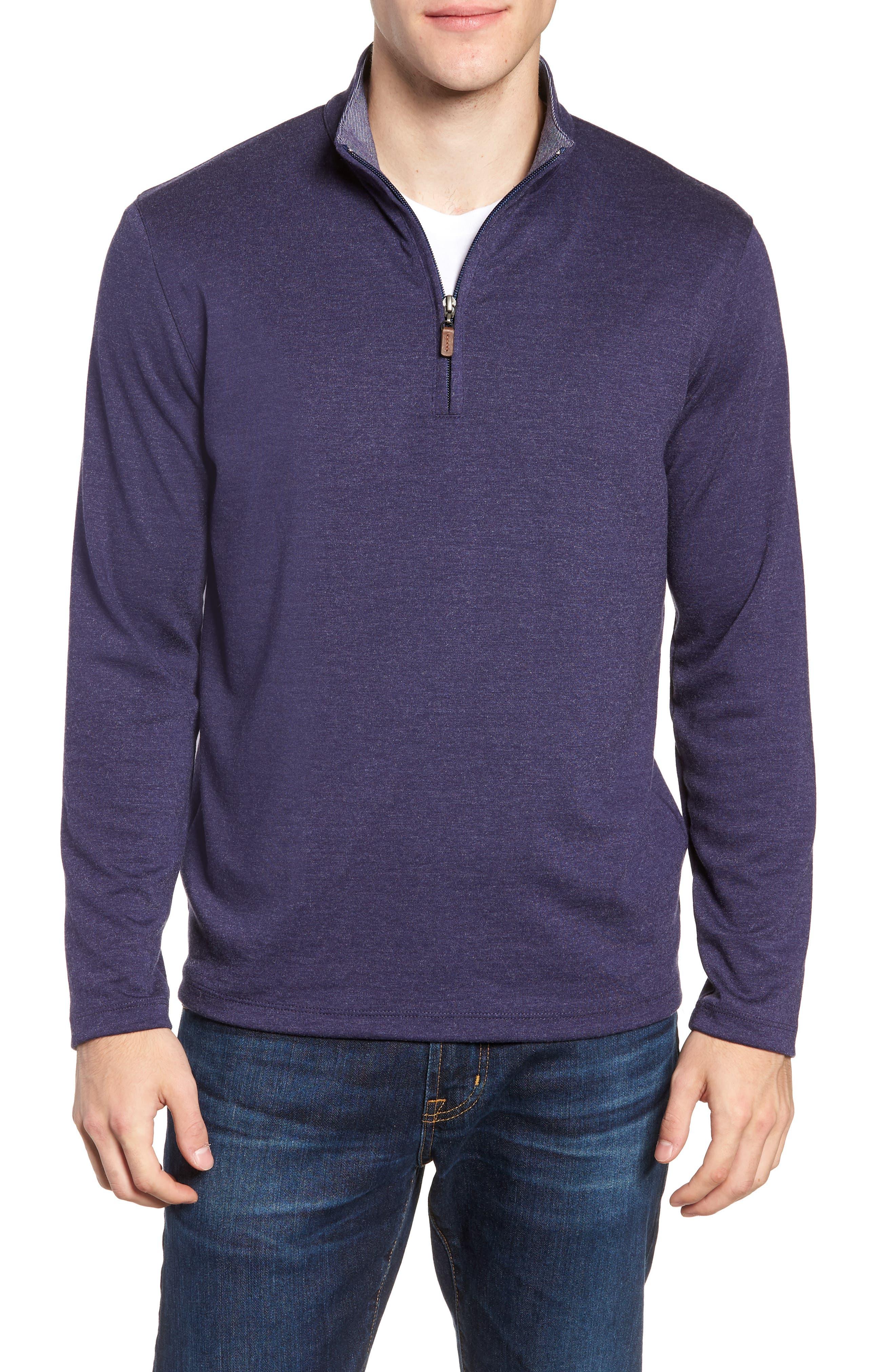 Eldridge Quarter Zip Performance Pullover,                         Main,                         color, BLUE