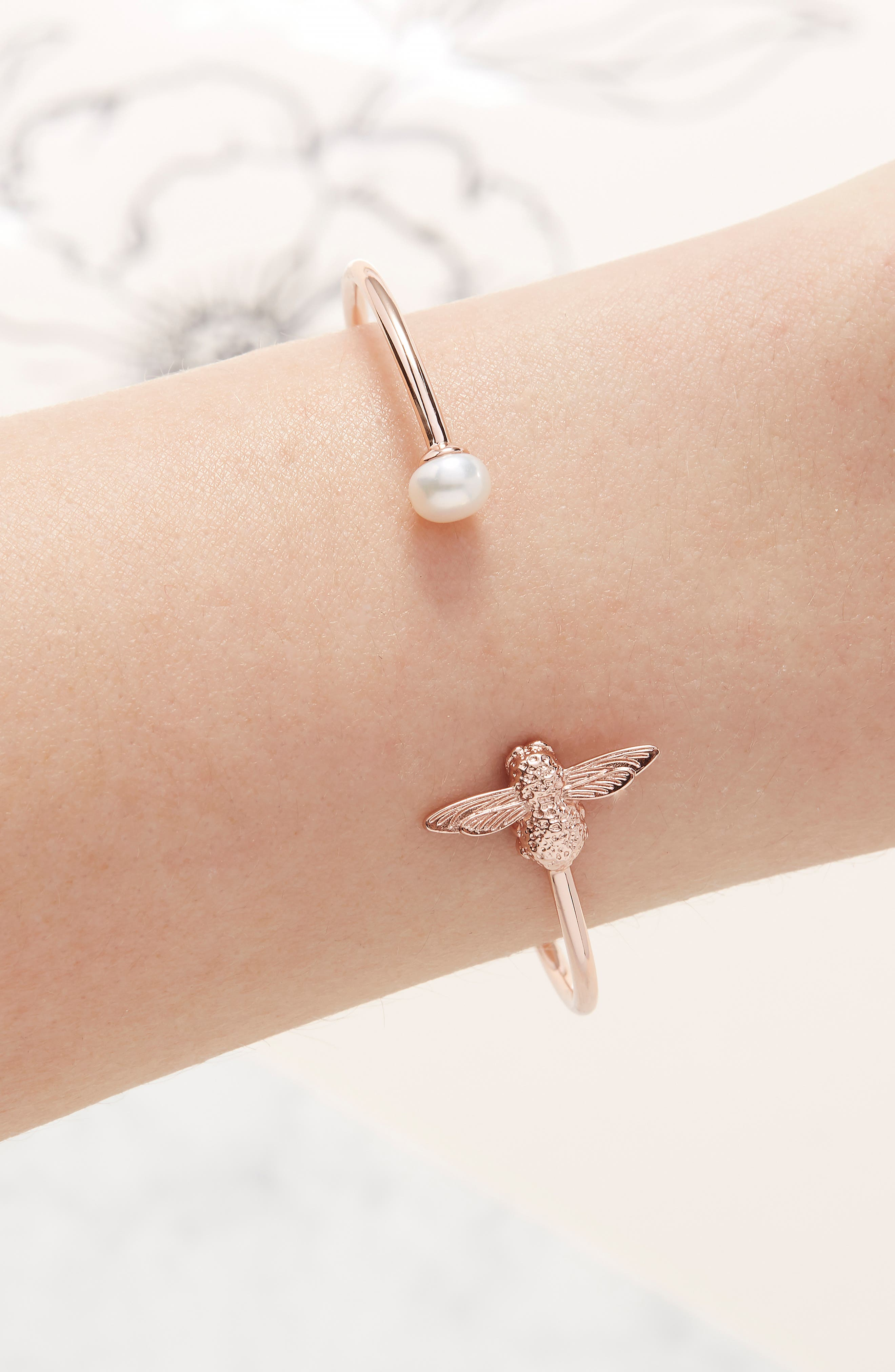 Pearl Bee Bangle Bracelet,                             Alternate thumbnail 2, color,                             ROSE GOLD