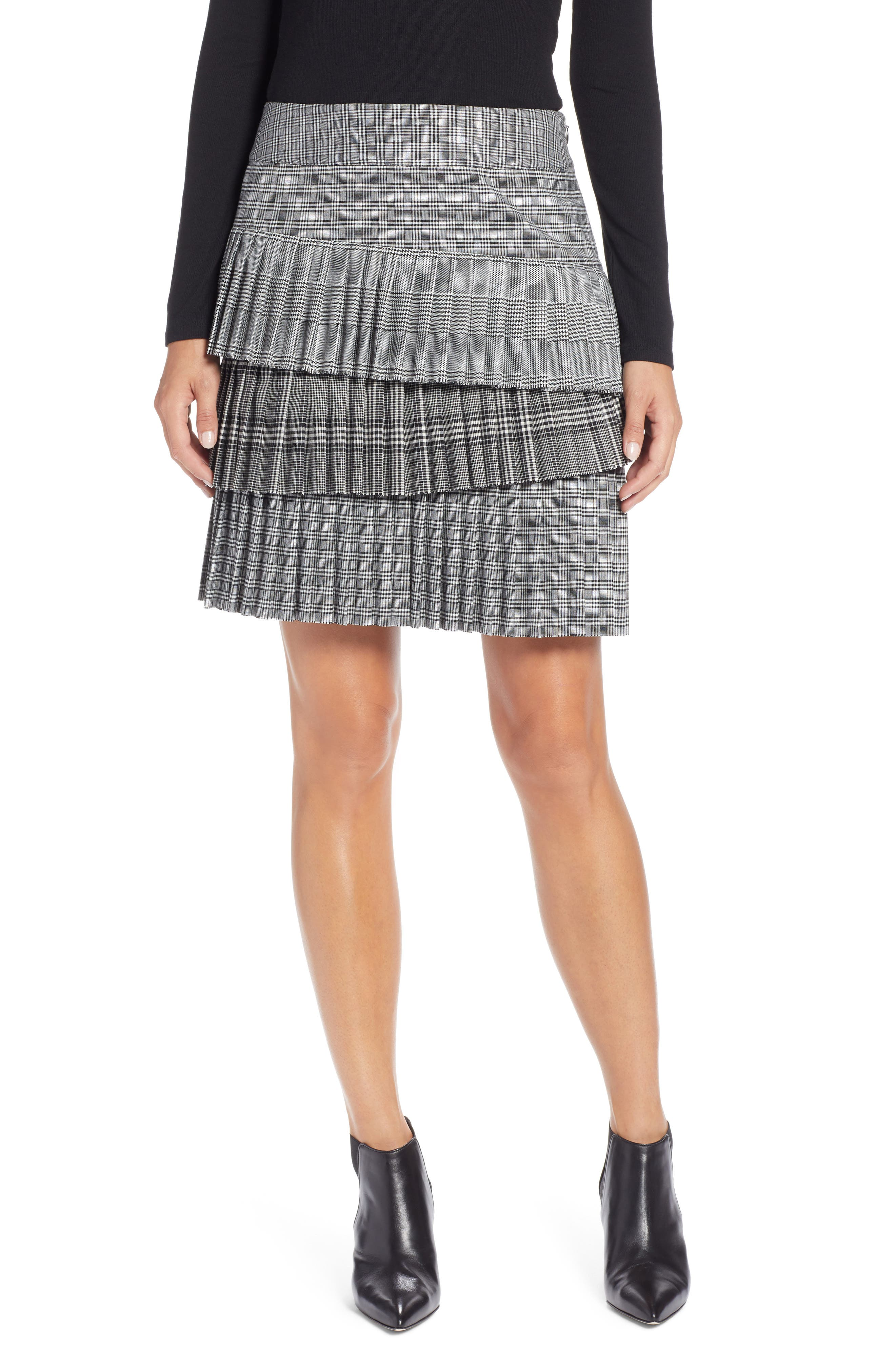 Layered Pleated Skirt,                         Main,                         color, BLACK MIXED PLAID