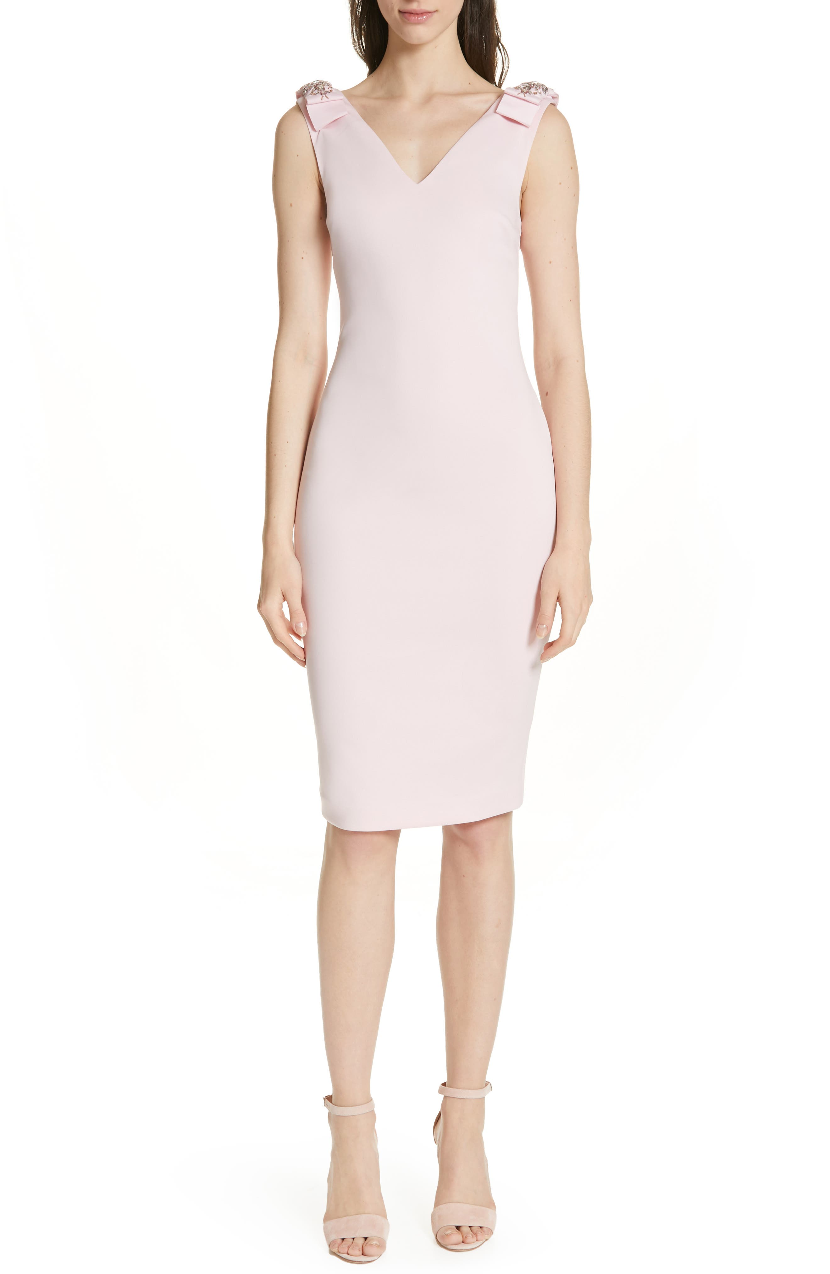 Ted Baker London Belliah Bow Shoulder Body-Con Dress, Pink