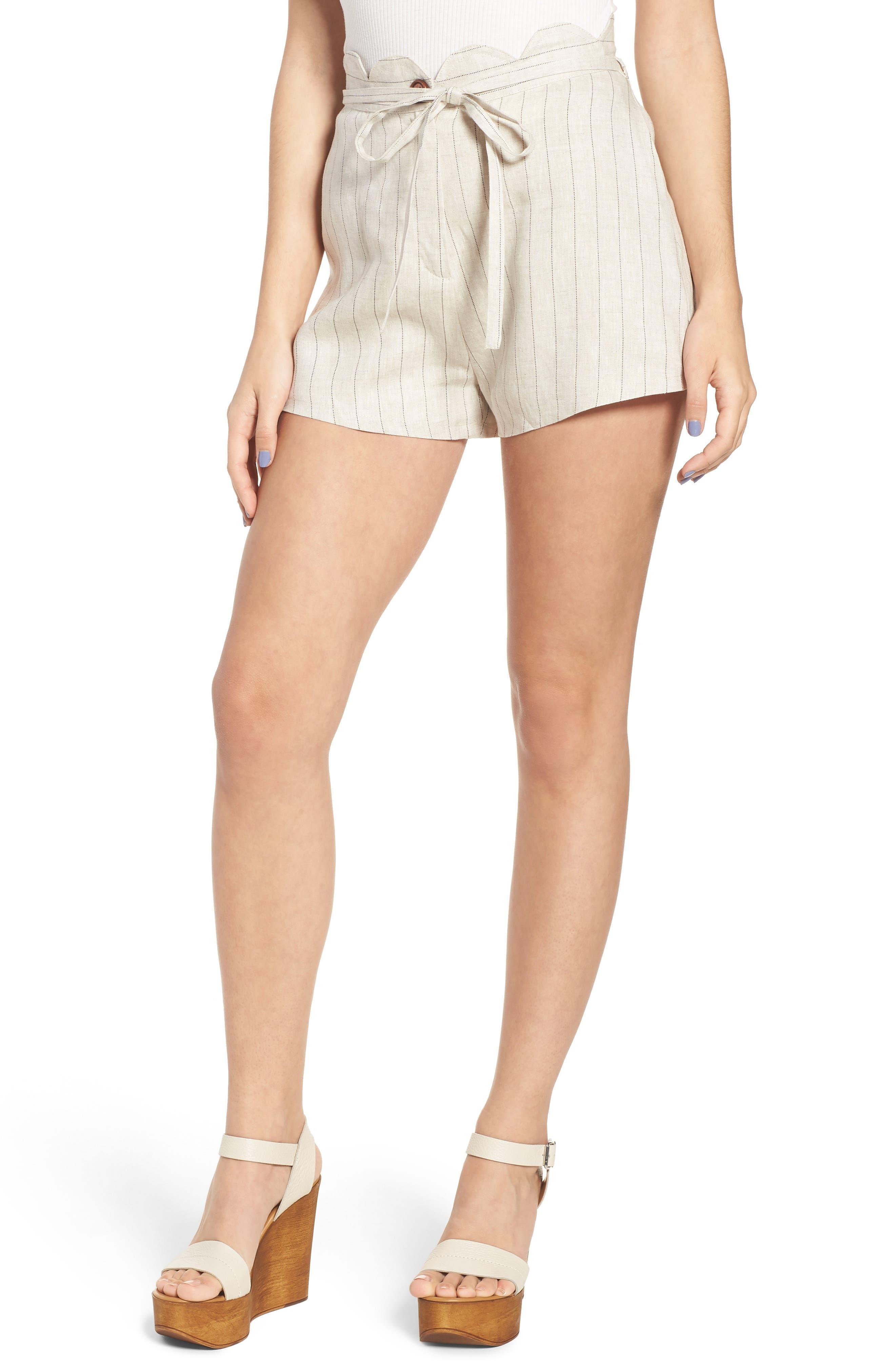 Scallop Waist Linen Shorts,                             Main thumbnail 1, color,