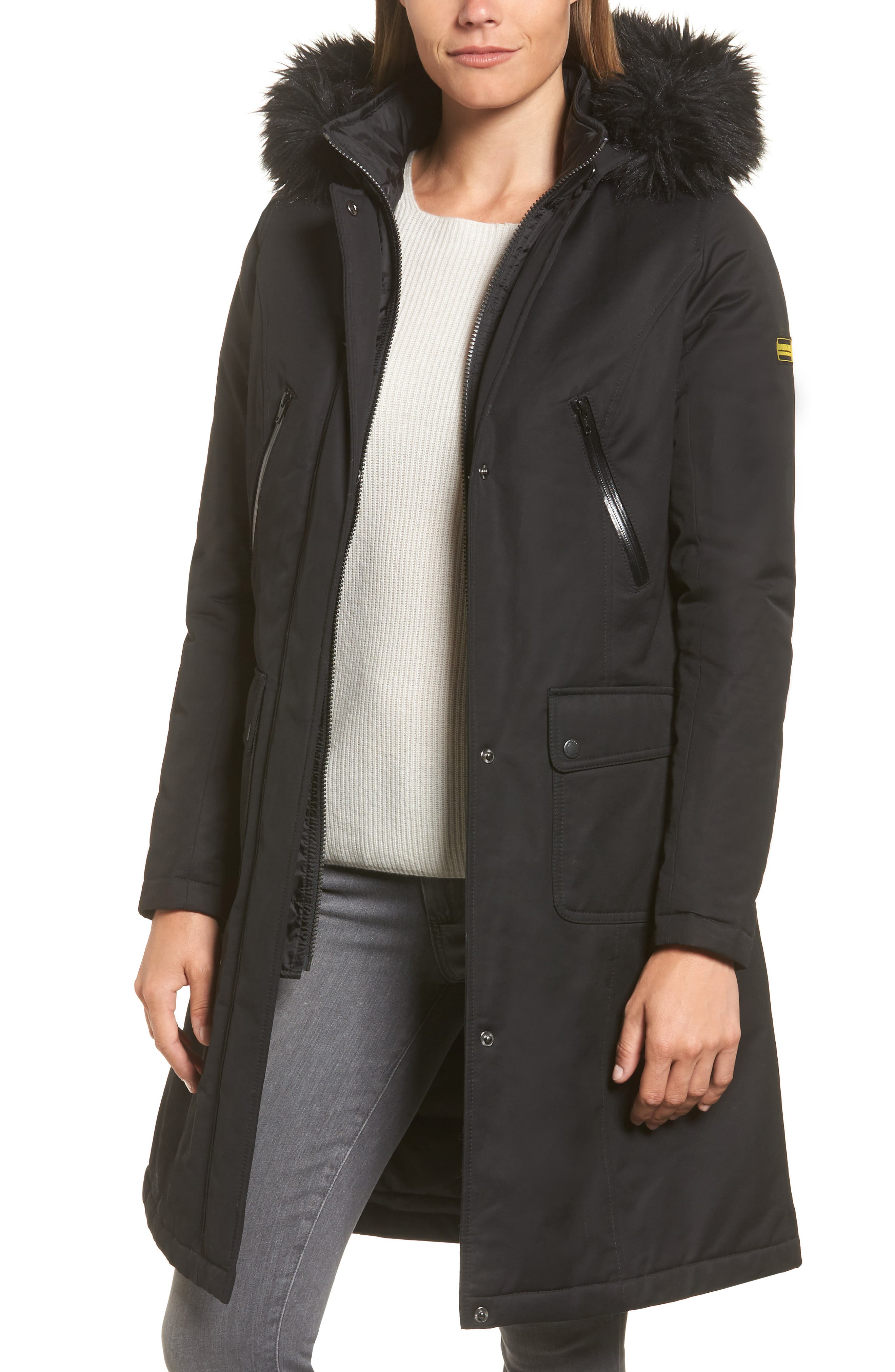 Mondello Hooded Water Resistant Jacket with Faux Fur Trim,                             Main thumbnail 1, color,                             001