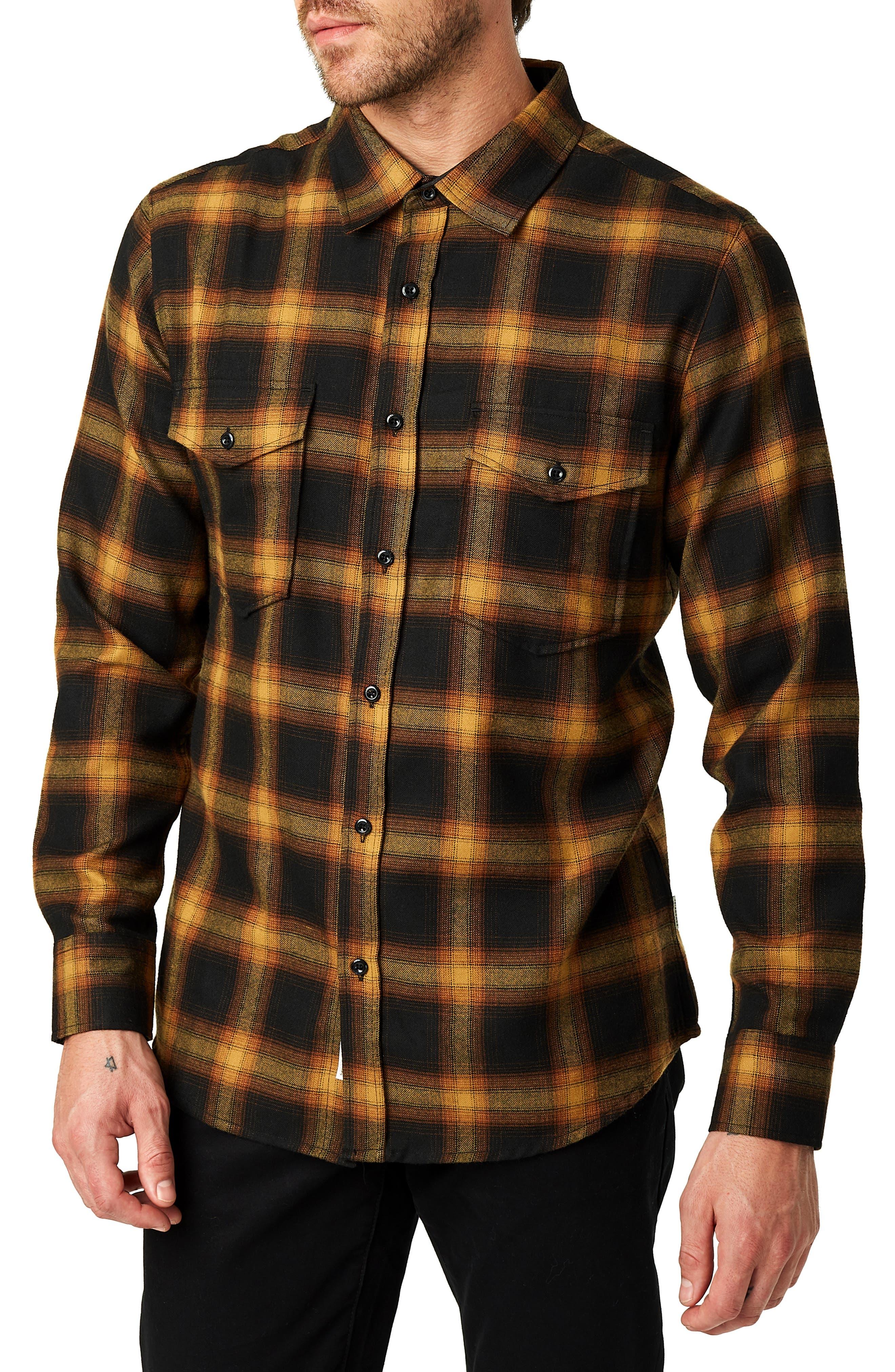 Banyan Trim Fit Plaid Sport Shirt,                         Main,                         color, BLACK MUST